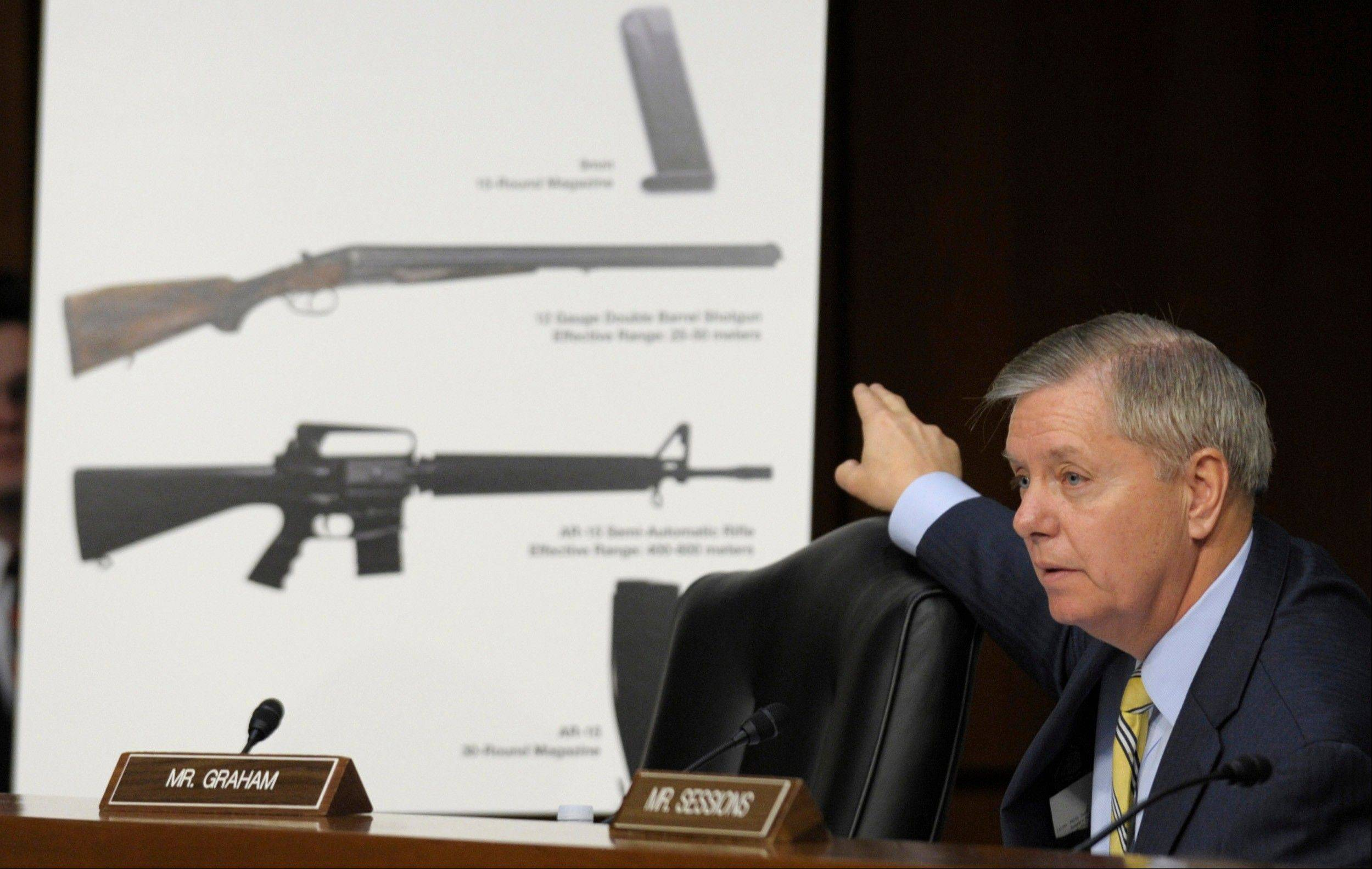 Senate Judiciary Committee member Sen. Lindsey Graham, a South Carolina Republican, talks about gun legislation during the committee's hearing on Capitol Hill last January. Senators could start debating Democratic-written gun legislation before week's end.