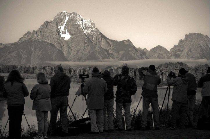Donna Sizemore of Warrenville won first place in our March Photo Finish contest with this image of photographers at Mount Moran in Grand Teton National Park.