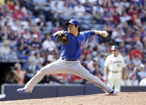 Chicago Cubs relief pitcher Hisanori Takahashi (47) throws in the eighth inning of baseball game against the Atlanta Braves in Atlanta. Sunday, April 7, 2013, in Atlanta. Atlanta won 5-1.