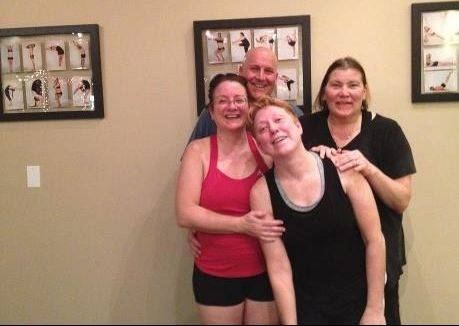 Salt Creek�s Waist Management team cools down after a hot yoga session.