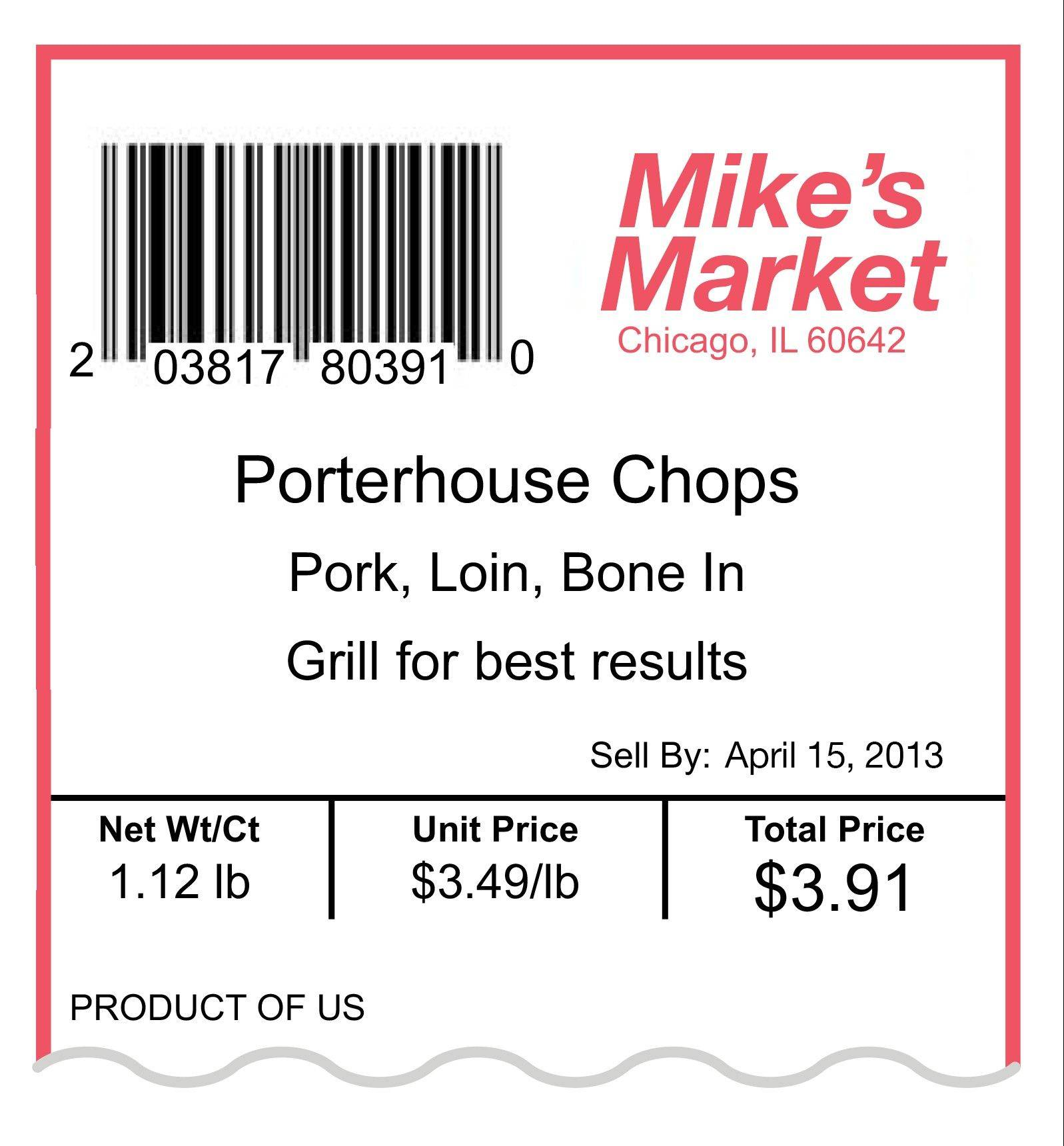 This label shows an example of the updated Uniform Retail Meat Identification Standards label for porterhouse pork chops. The American meat industry is rolling out a refresh of the often confusing 40-year-old system used for naming the various cuts of beef, pork, lamb and veal.