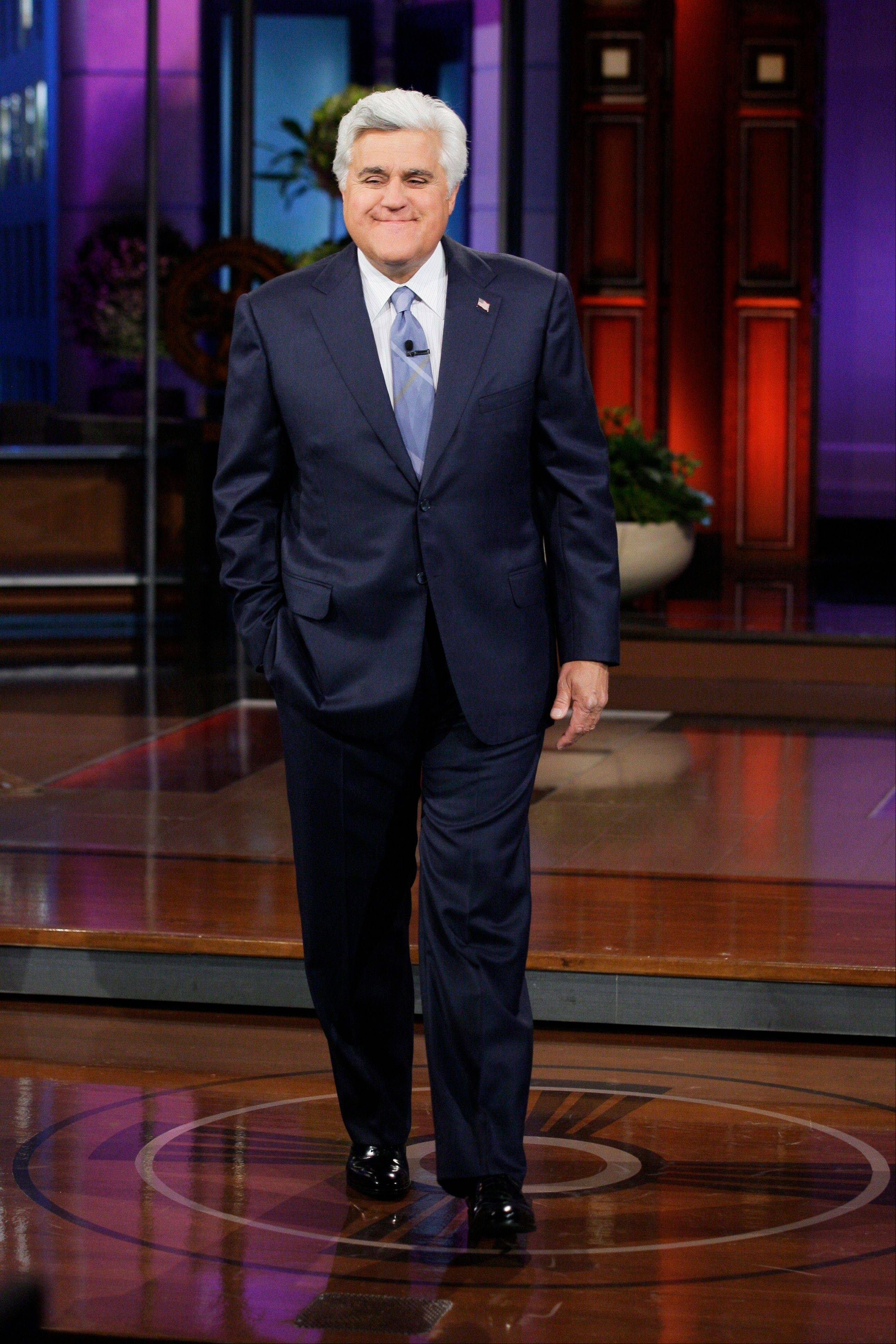 "Jay Leno on the set of ""The Tonight Show with Jay Leno."""