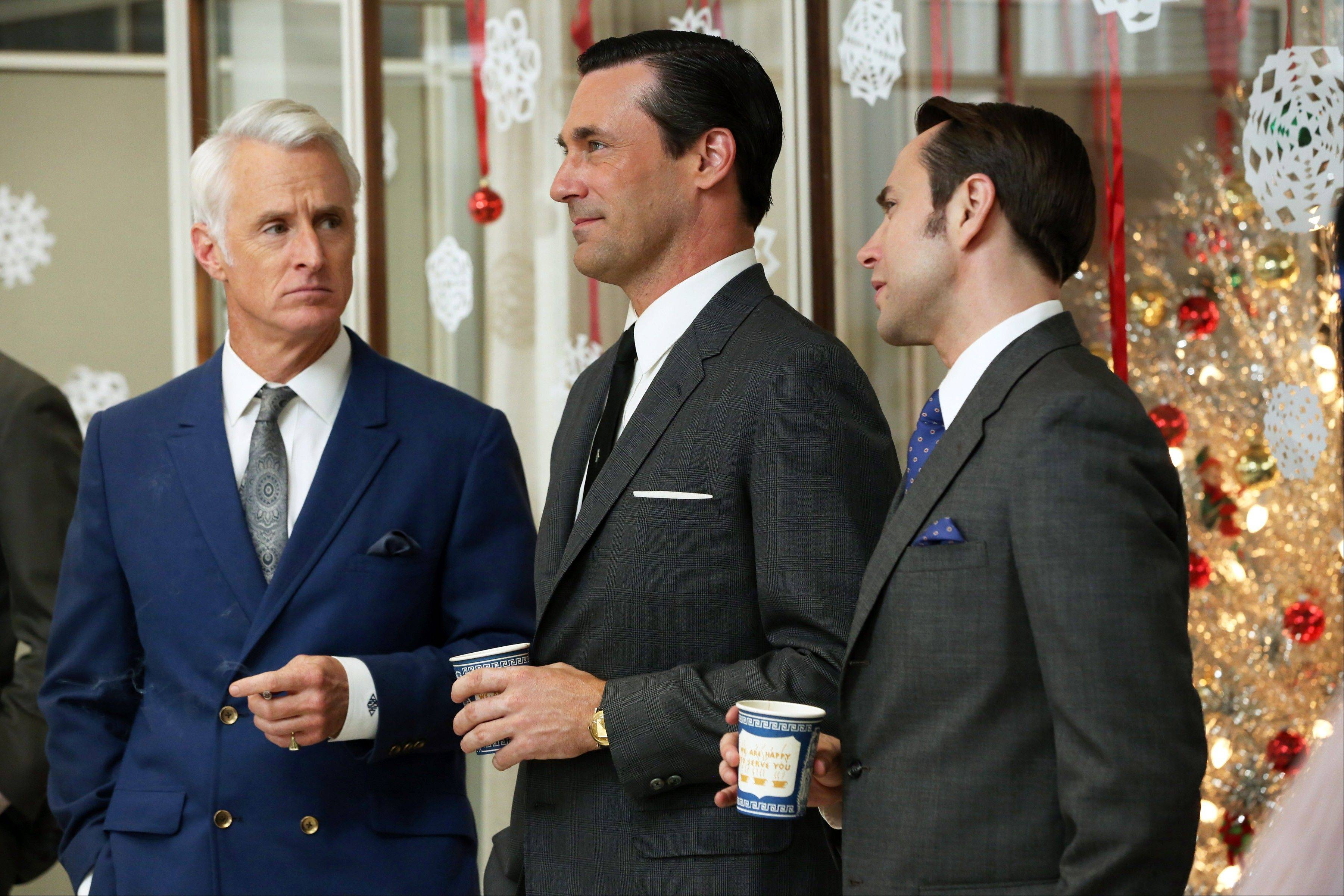 "John Slattery as Roger Sterling, left, Jon Hamm as Don Draper and Vincent Kartheiser as Pete Campbell returned for the sixth season of ""Mad Men"" Sunday."