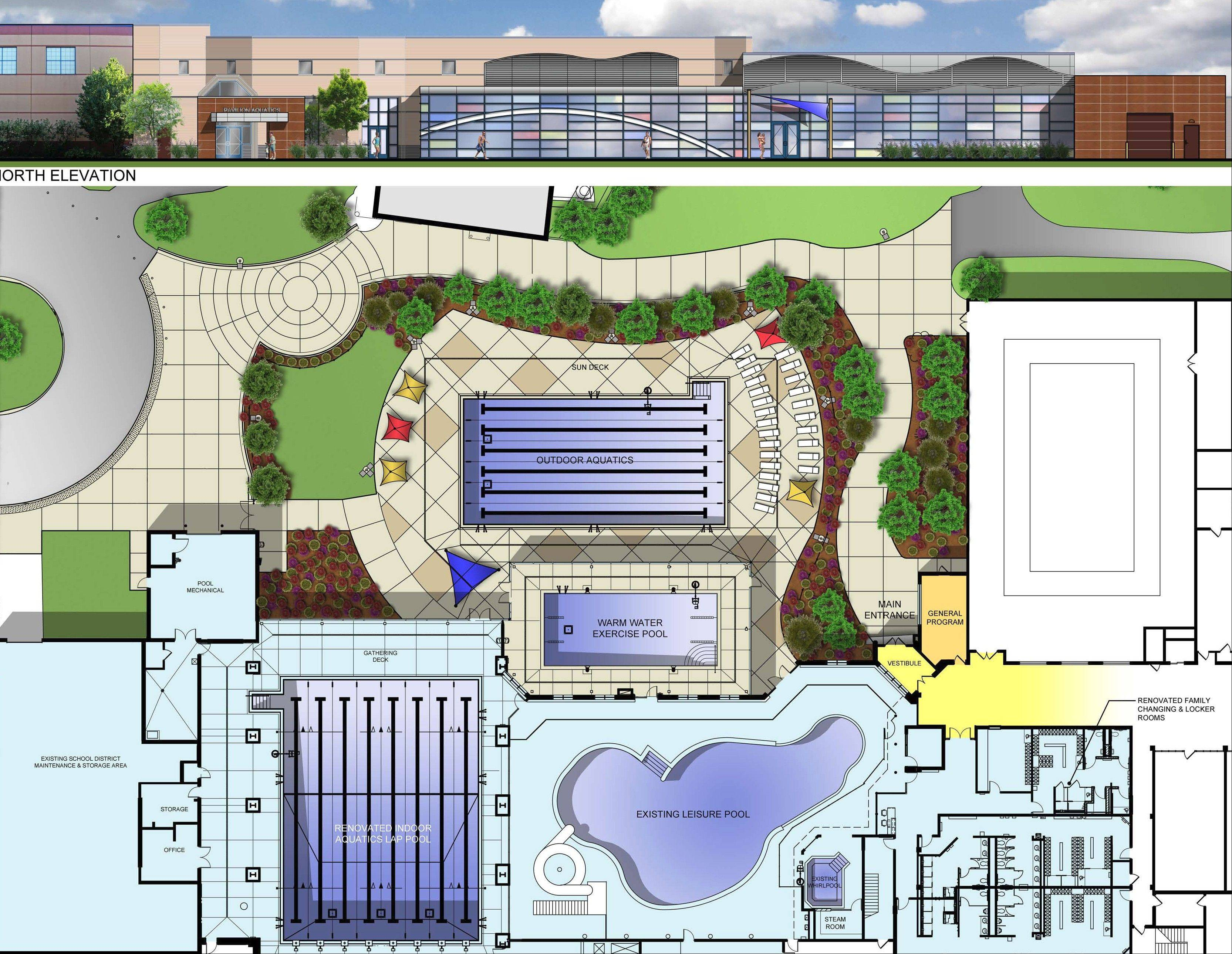 The updated Pavilion Aquatic Center will have a six-lane outdoor lap pool and eight-lane indoor pool.