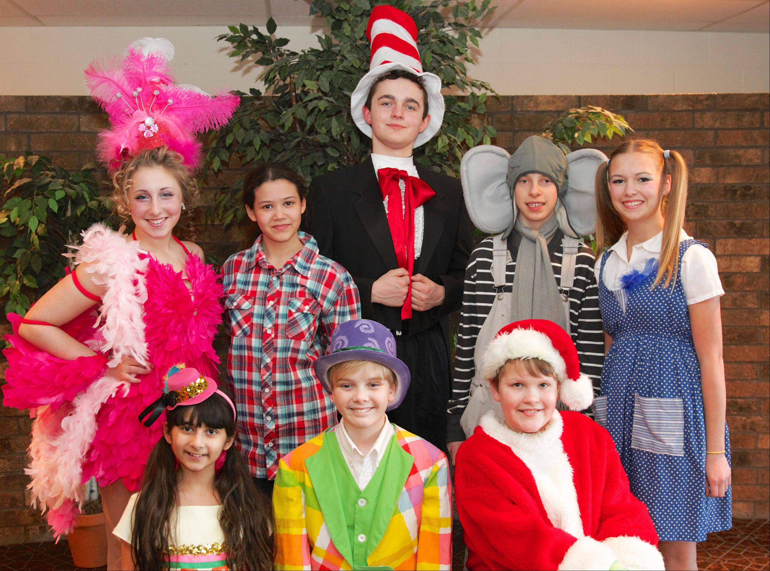 "Children's Theatre of Elgin will stage ""Seussical Jr."" at the Hemmens in Elgin. Cast members include, from left, top row, Mayzie (Madison Kleba), ""The Boy (Abby Anderson), Cat In The Hat (Mac Rivara) Horton (Nathaniel Bohrer) and Gertrude (Tracy Suppes); bottom row, from left, are Mrs. Mayor (Katie Das) Mr. Mayor (Charlie Karner) and The Grinch (Ben Cisco)."