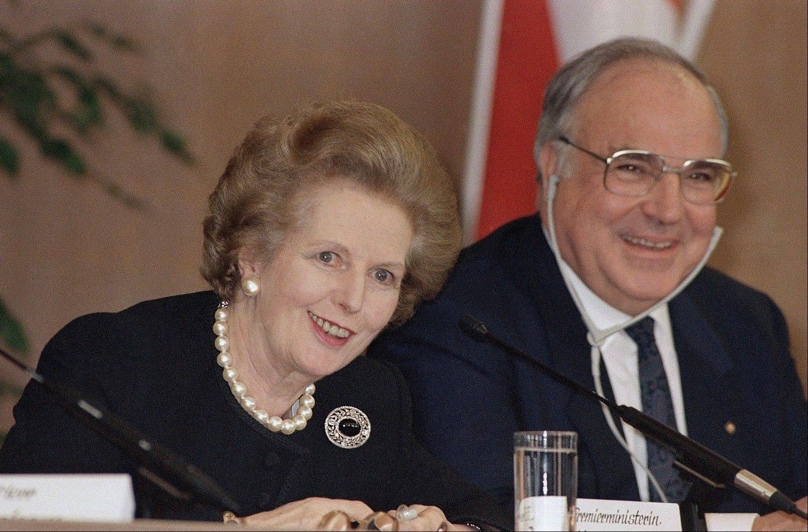 This is a Tuesday, Feb. 21, 1989 file photo of British Prime Minister Margaret Thatcher and West German Chancellor Helmut Kohl during a news conference in the Frankfurt City Hall in Frankfurt Germany. Former British Prime Minister Margaret Thatcher, whose conservative ideas made an enduring impact on Britain, died Monday April 8, 2013. S
