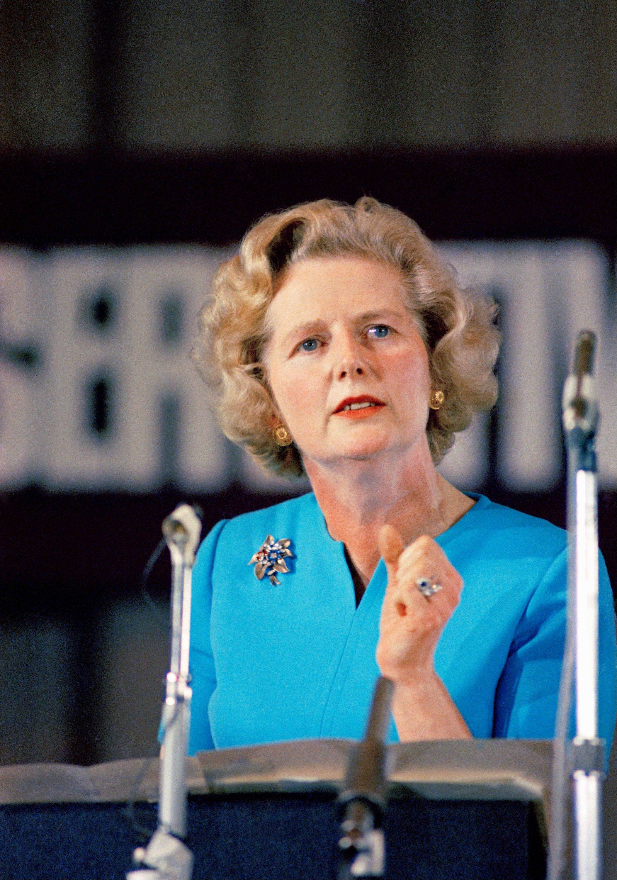 In a Feb. 10, 1975 file photo, Margaret Thatcher, leading conservative who won the first ballot for leadership which resulted in Edward Heaths resignation, speaks in London. Thatchers former spokesman, Tim Bell, said that former British Prime Minister Margaret Thatcher died Monday morning, April 8, 2013, of a stroke. She was 87.