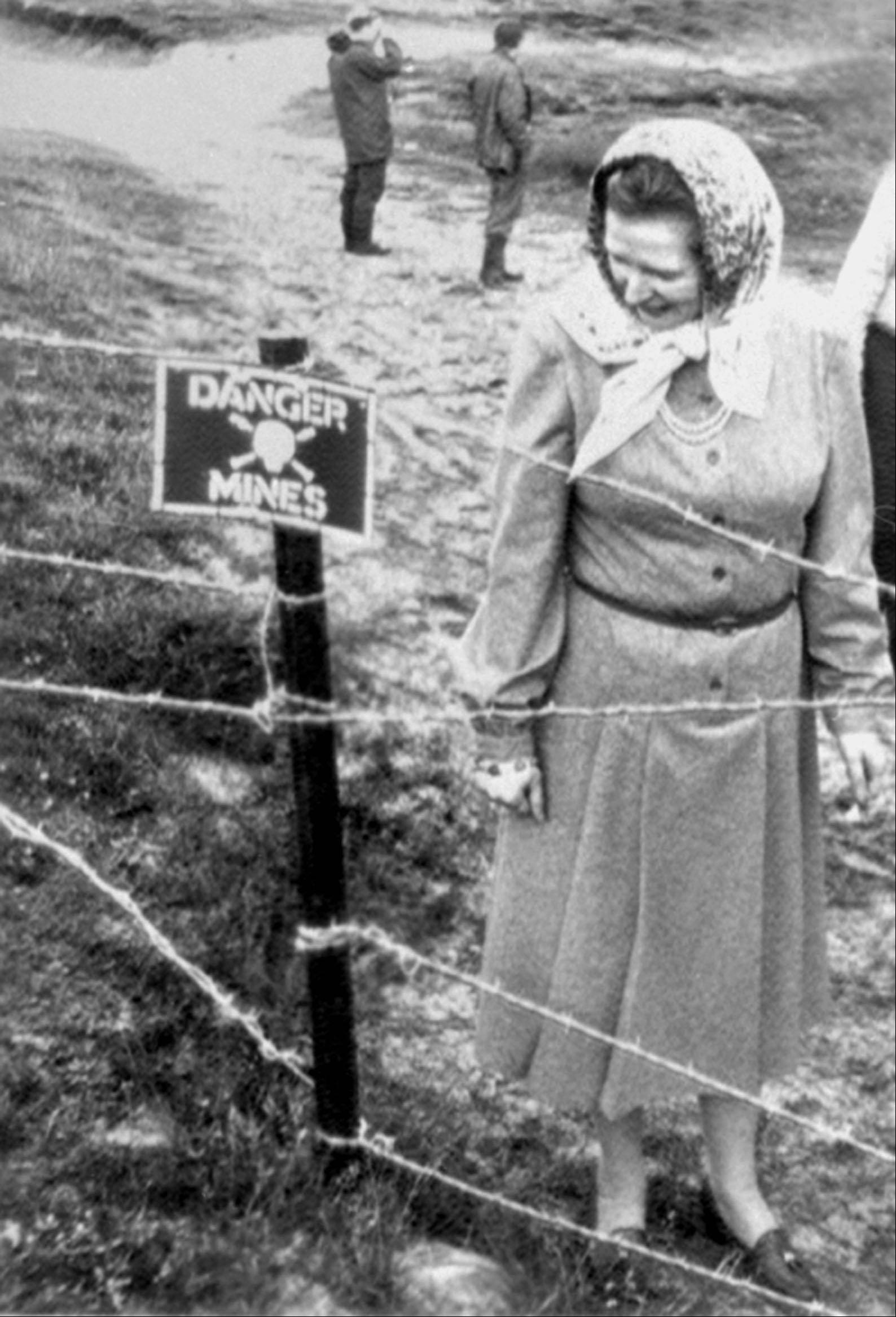 This is a March 10, 1983 file photo of former Prime Minister Margaret Thatcher examining a minefield during her visit to the Falkland Islands when the Royal Engineers took her on a tour of the Rookery Bay beach, a heavily mined area in the Falklands. Thatcher�s former spokesman, Tim Bell, said that the former prime minister had died Monday April 8, 2013 of a stroke. She was 87.