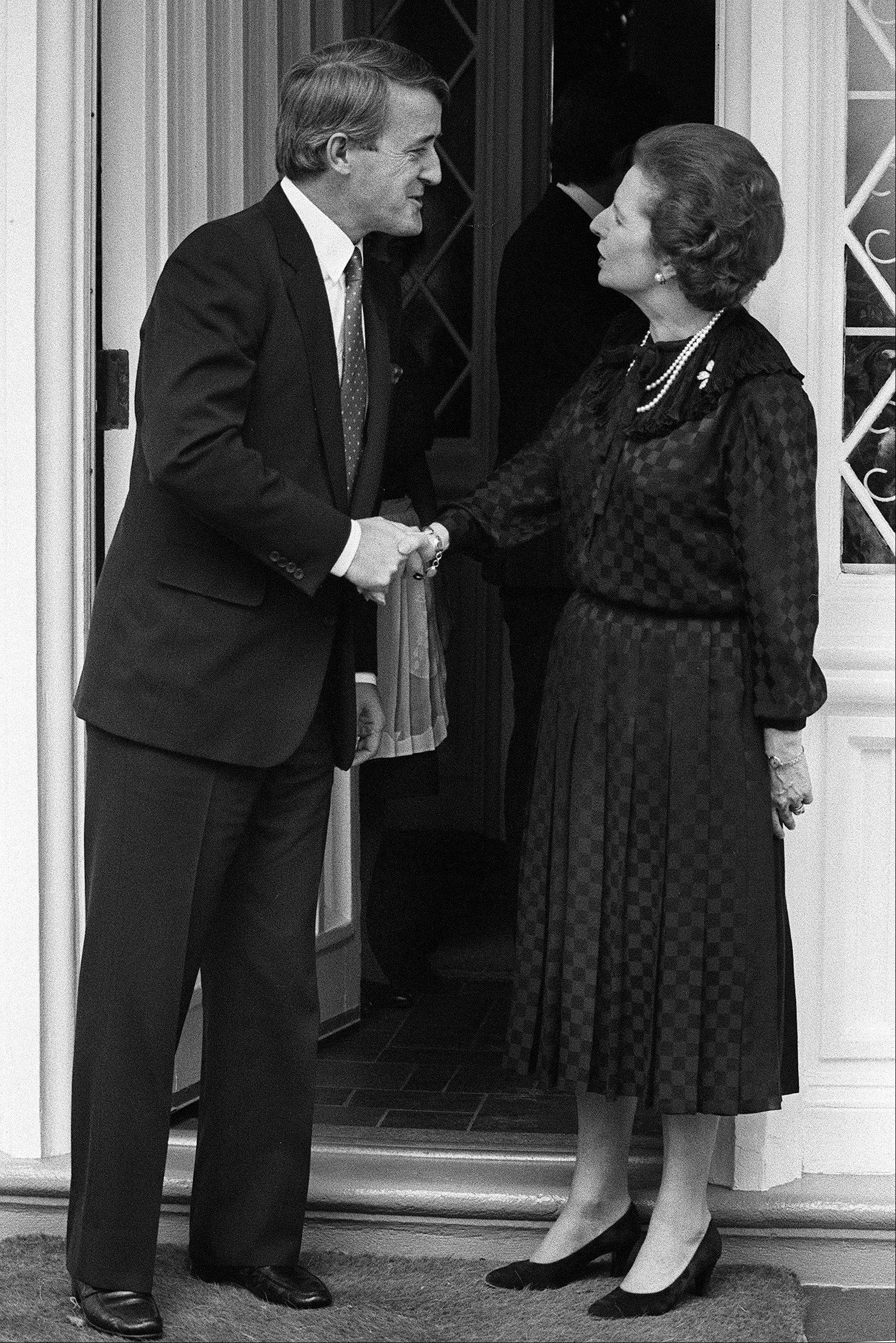 Then opposition leader Brian Mulroney shakes hands with British Prime Minister Margaret Thatcher at the British High Commissioners residence in Ottawa, Ont. Sept. 26, 1983. Thatcher�s former spokesman, Tim Bell, said that the former British Prime Minister Margaret Thatcher had died Monday morning, April 8, 2013, of a stroke. She was 87 years old.