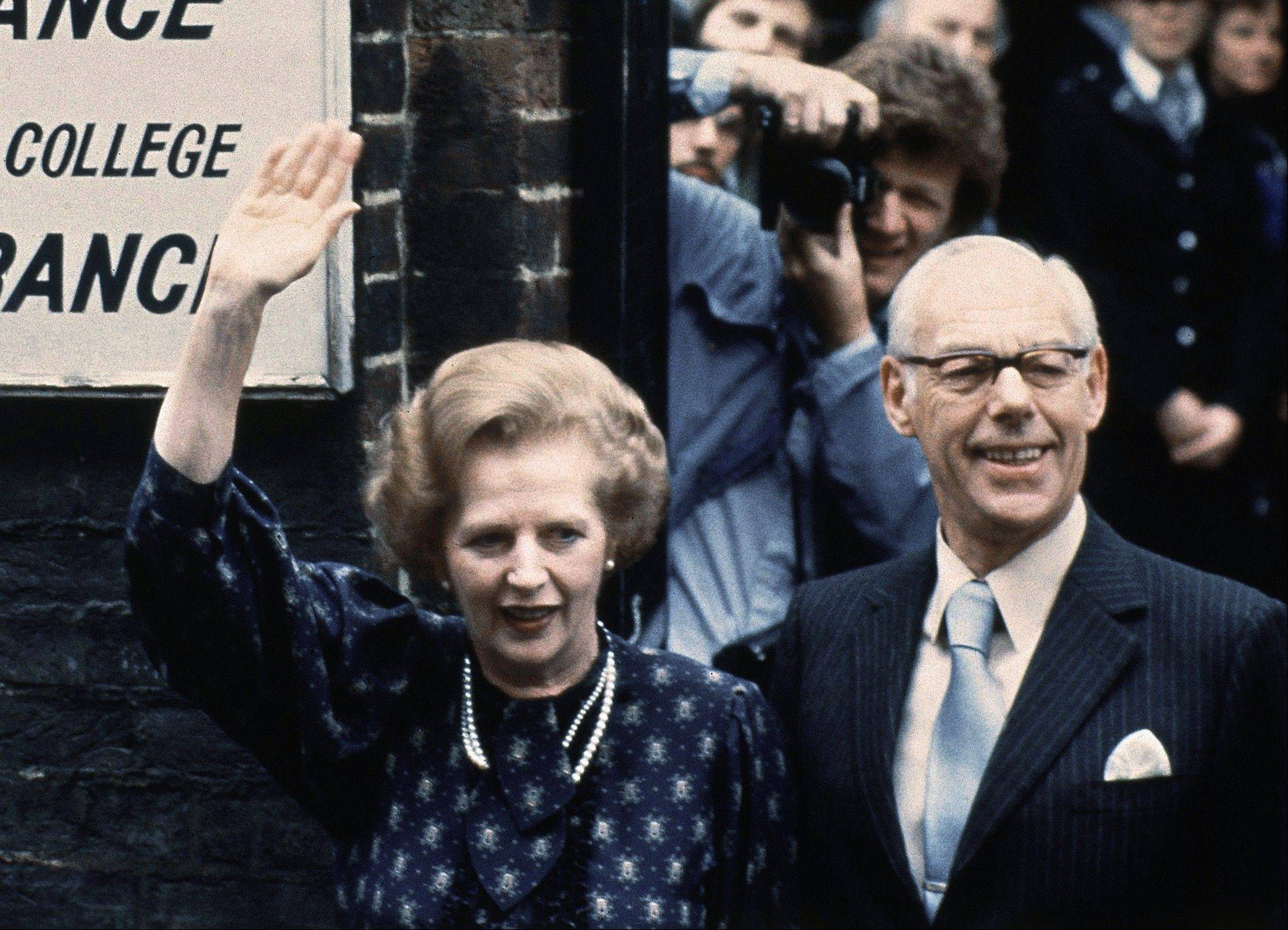 This is a June 9, 1983. file photo of British Prime Minister Margaret Thatcher leaves the Castle lane, Westminster, London England polling station with her husband, Dennis, after casting their votes in the general election. Former British Prime Minister Margaret Thatcher, whose conservative ideas made an enduring impact on Britain Monday April 8, 2013, has died. She was 87.