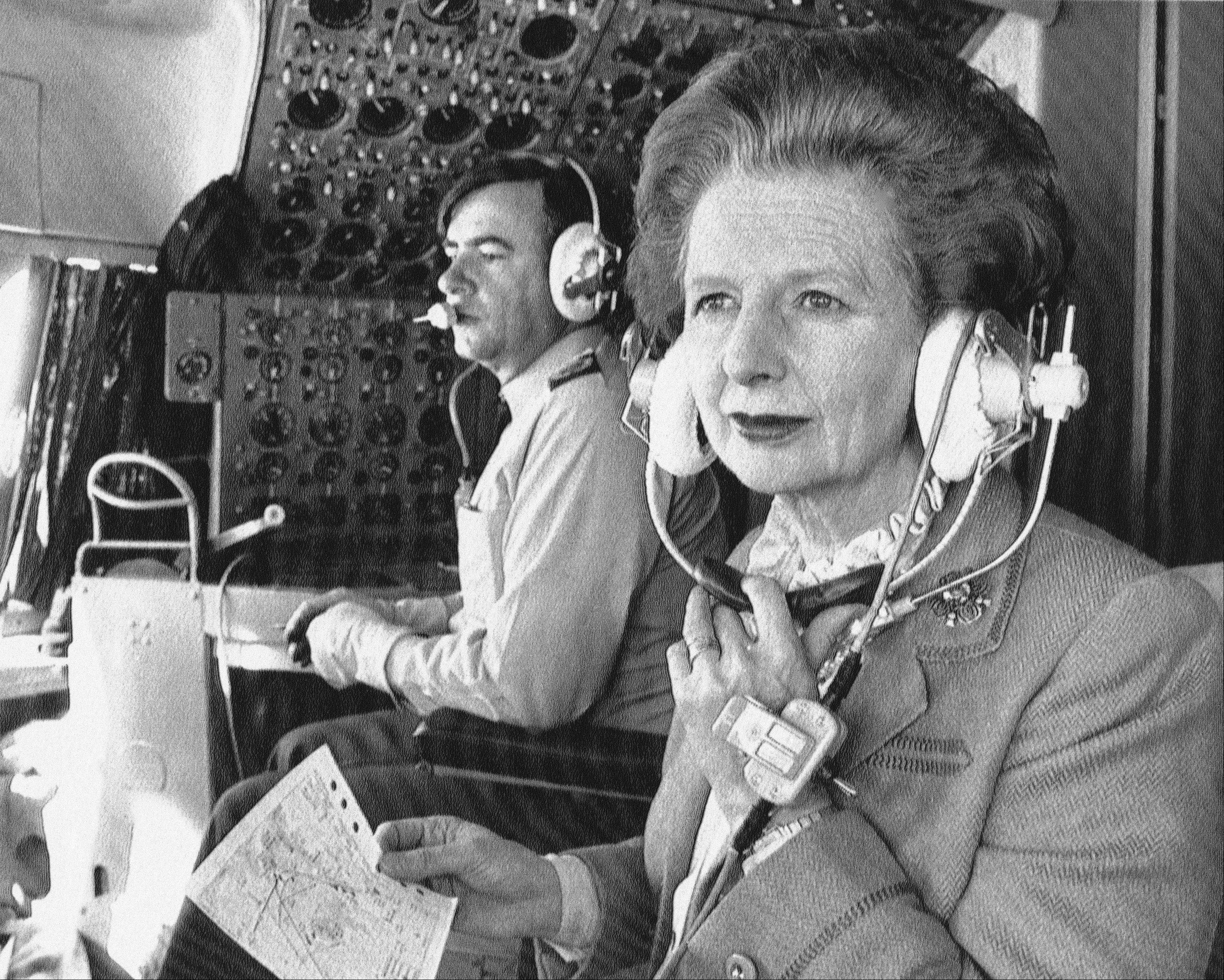In a Thursday, Dec. 20, 1984 file photo, British Prime Minister Margaret Thatcher sits in the cockpit in her Royal Air Force ve-10 during the flight to Hong Kong from Peking. Thatchers former spokesman, Tim Bell, said that the former British Prime Minister Margaret Thatcher died Monday morning, April 8, 2013, of a stroke. She was 87.