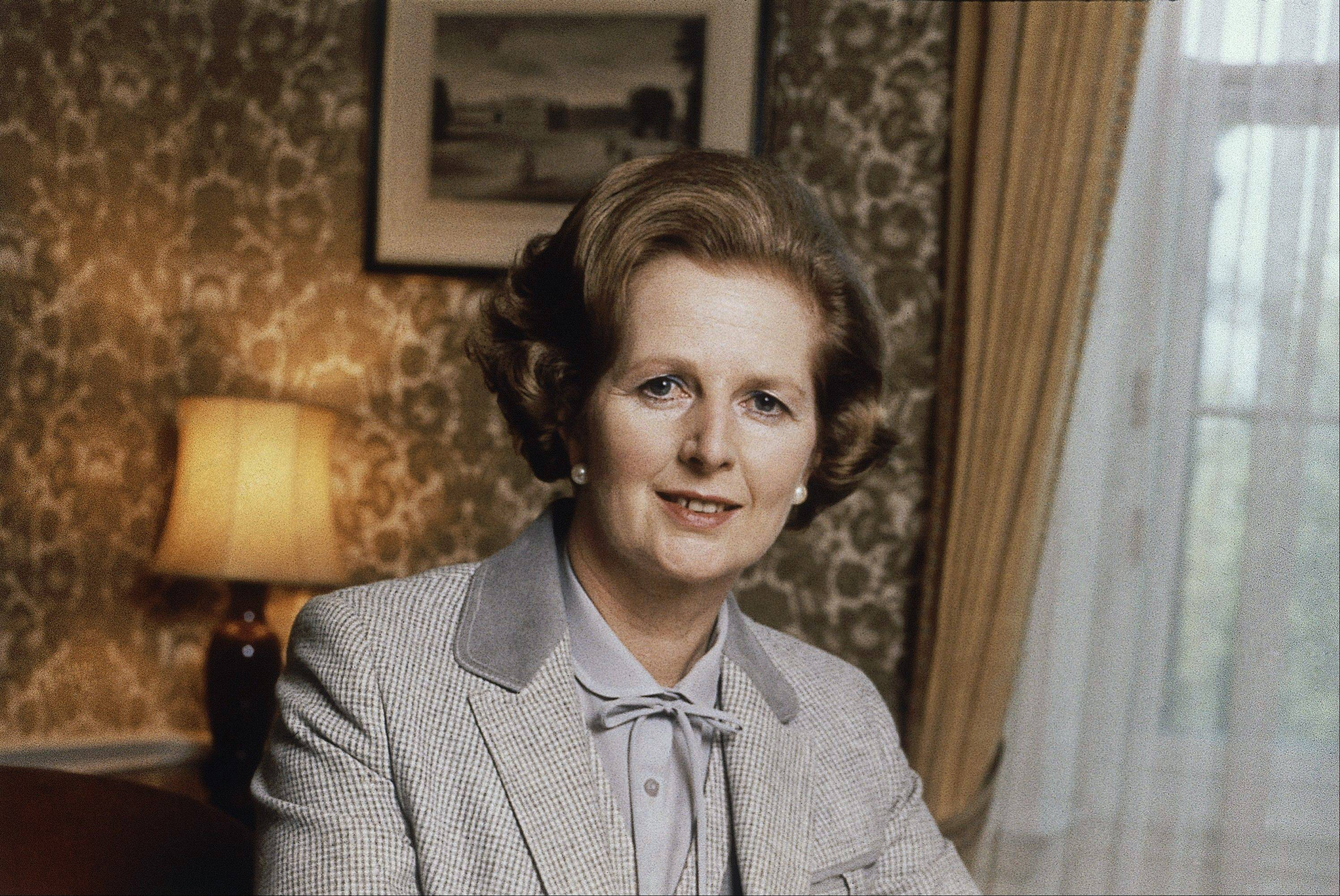 A 1980 file photo of British Prime Minister Margaret Thatcher.