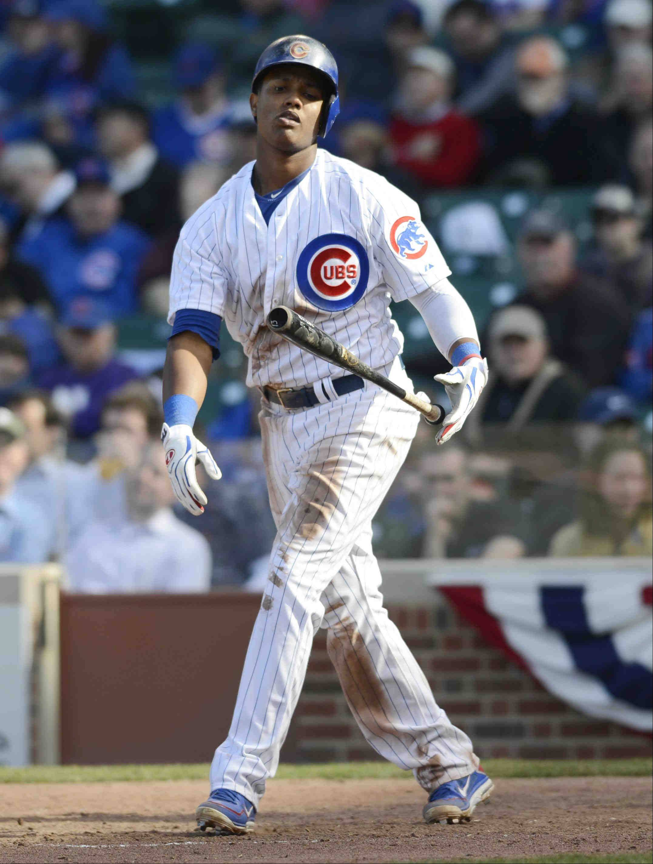 Cubs shortstop Starlin Castro reacts after striking out late in Monday's home opener against the Milwaukee Brewers at Wrigley Field.