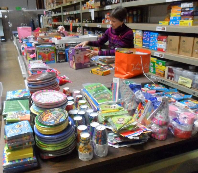 HSP staff member Jan Thompson, sorting the donation from St. Walter Catholic School
