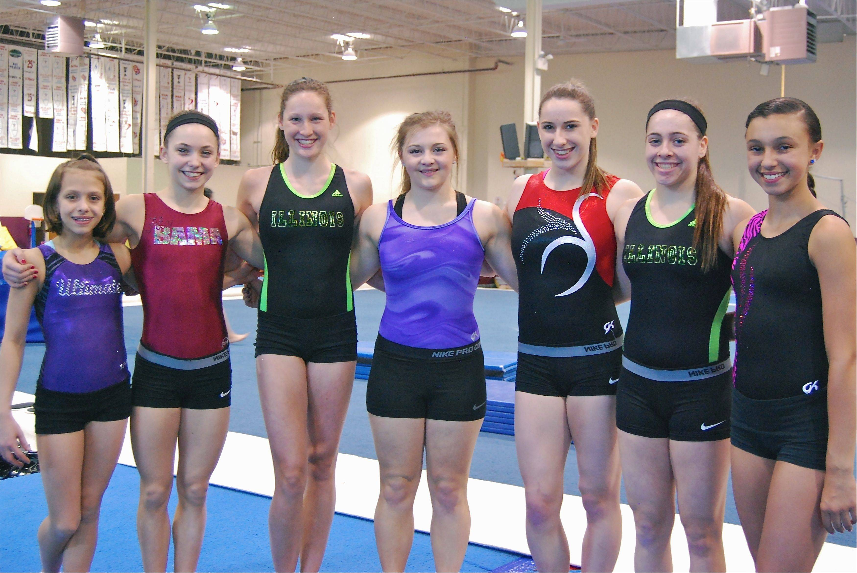 Seven members of the Ultimate Gymnastics Level 8-10 girls' team gathered eight gold medals in their respective age groups at their state meet sessions held in Bourbonnais. From left: Emily Whitis (floor champion, L8), Ella Peter (beam champion, L8), Katie Schroeder (beam and all-around champion, L8), Brittany Moccia (beam champion, L9), Lauren Feely (vault champion, L10), Carli Betman (floor champion, L8) and Samantha Wahlers (floor champion, L8).