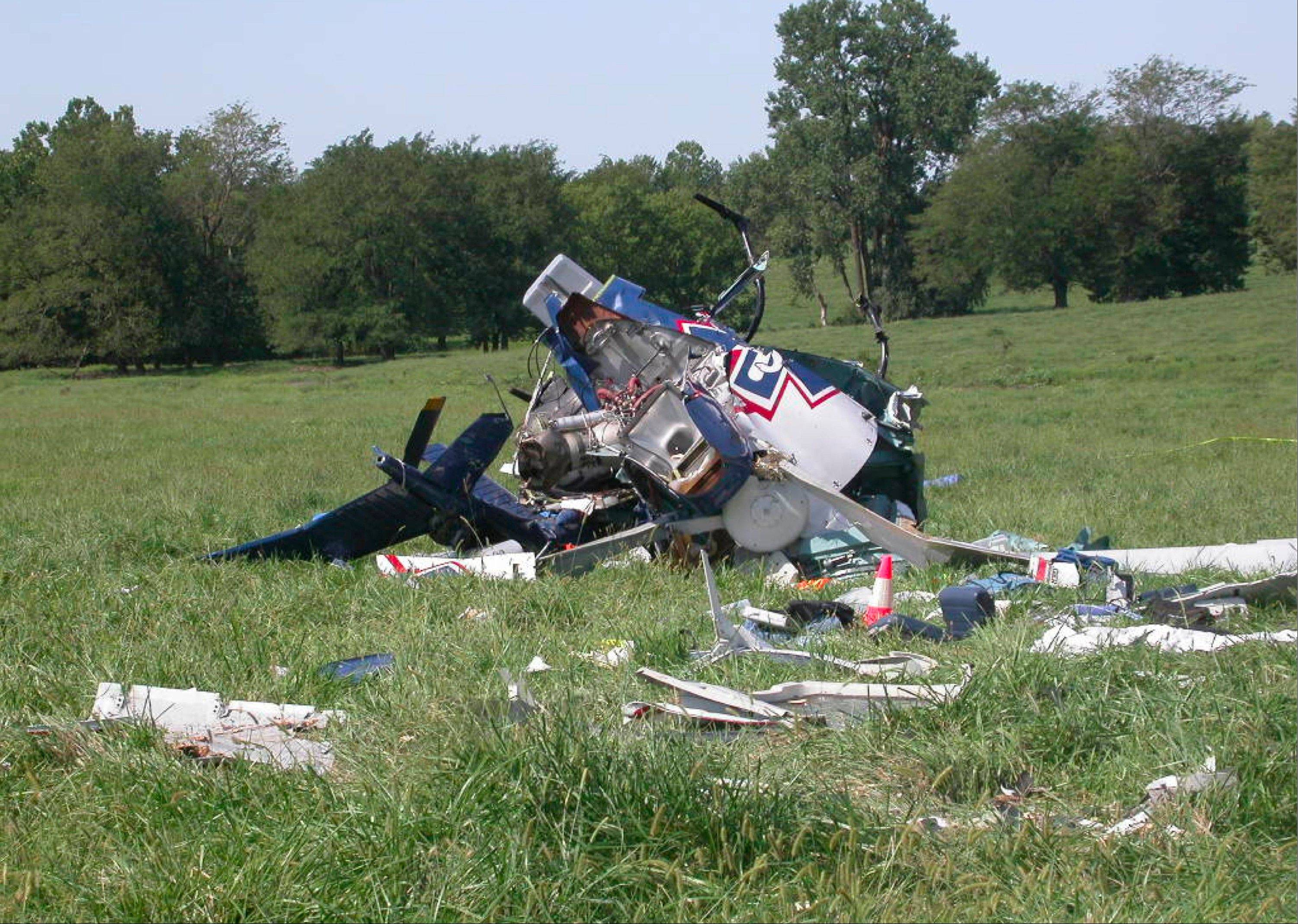 The wreckage of a helicopter that crashed near Mosby, Mo., on Aug. 26, 2011. The pilot of an emergency medical helicopter may have been distracted by text messages when he failed to refuel his helicopter and misjudged how far he could fly before running out of fuel.