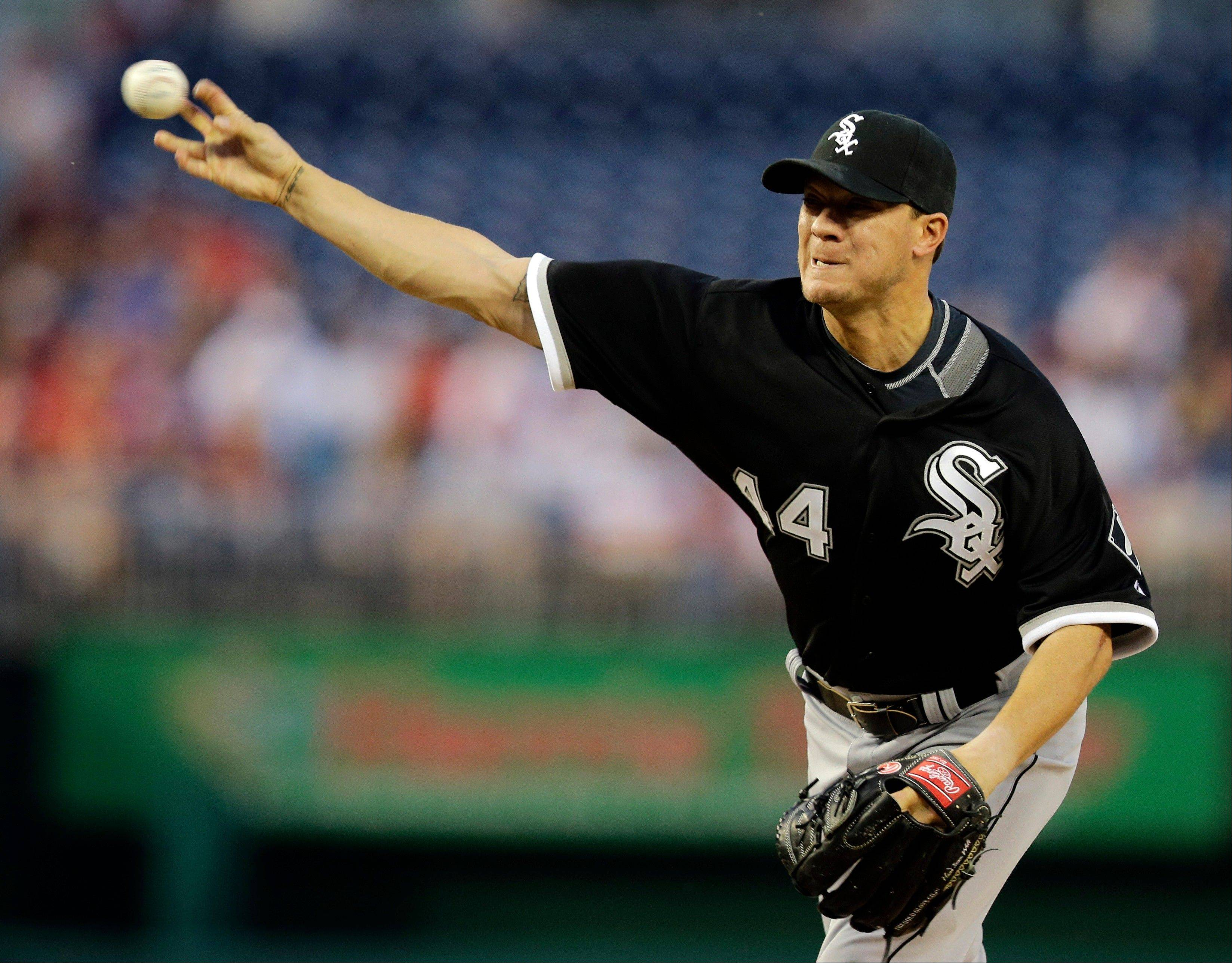 Chicago White Sox starting pitcher Jake Peavy (44) throws during the first inning of an interleague baseball game against the Washington Nationals at Nationals Park Tuesday, April 9, 2013, in Washington. (AP Photo/Alex Brandon)