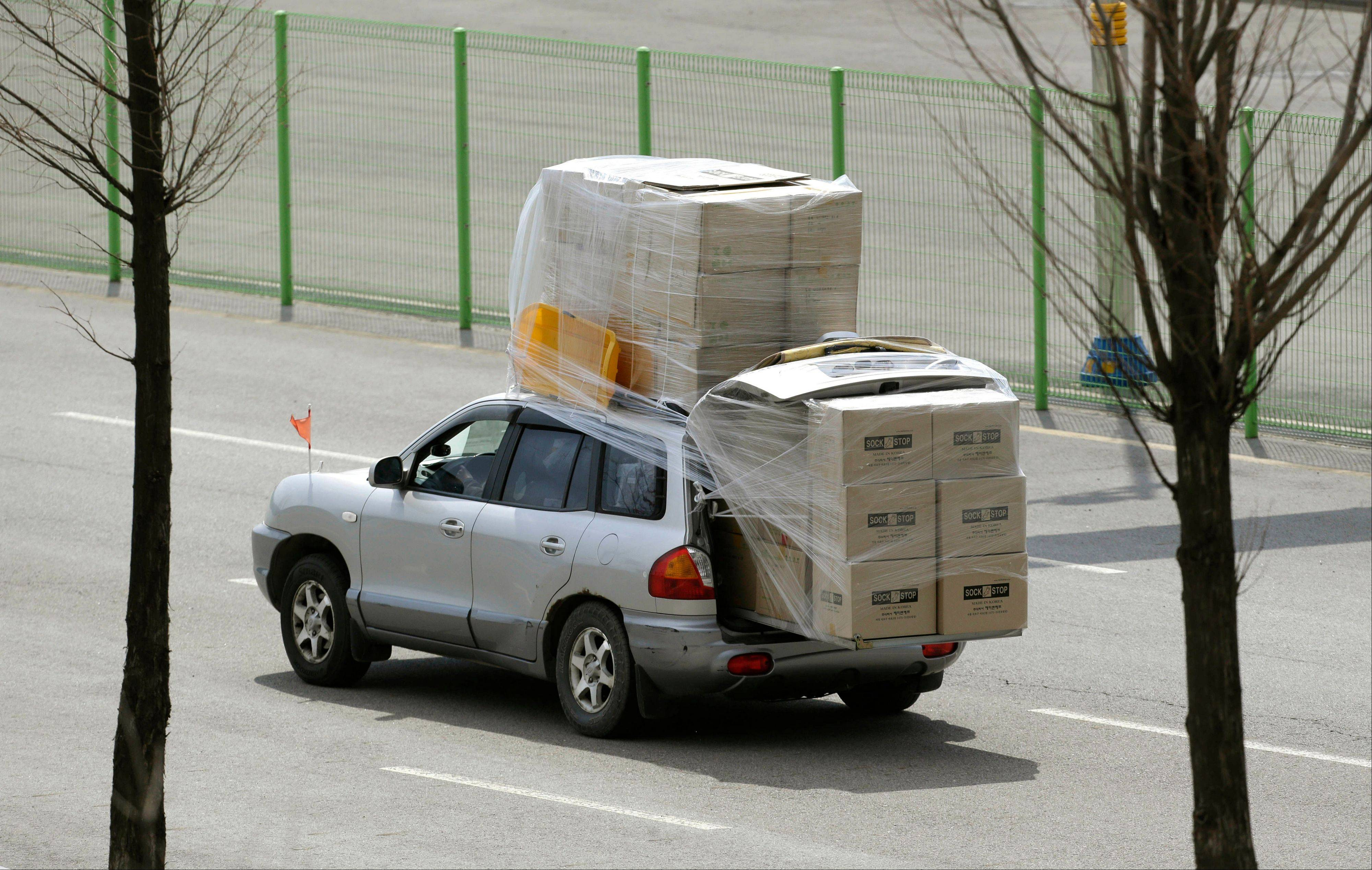 A South Korean vehicle carrying boxes, returning from the North Korean city of Kaesong, arrives at customs near the border that has separated the two Koreas since the Korean War. North Korean workers didn't show up for work at the Kaesong industrial complex, a jointly run factory with South Korea on Tuesday, a day after Pyongyang suspended operations at the last remaining major economic link between rivals locked in an increasingly hostile relationship. Some managers stuffed their cars full of finished goods before heading south across the Demilitarized Zone that divides the nations.