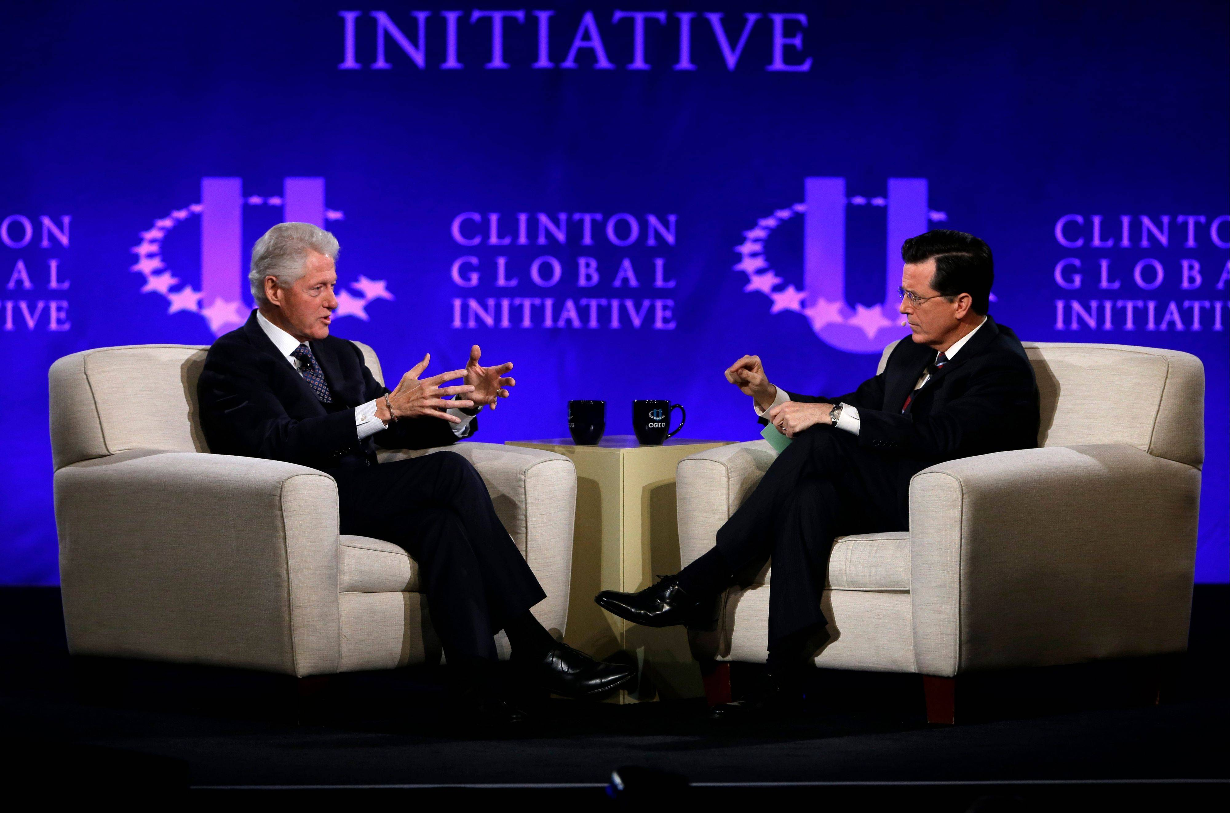 "Former President Bill Clinton and Comedy Central's Stephen Colbert during the Clinton Global Initiative at Washington University in St. Louis. Colbert lured the former president to the social networking site on ""The Colbert Report"" on Monday, signing him up with the handle PrezBillyJeff."