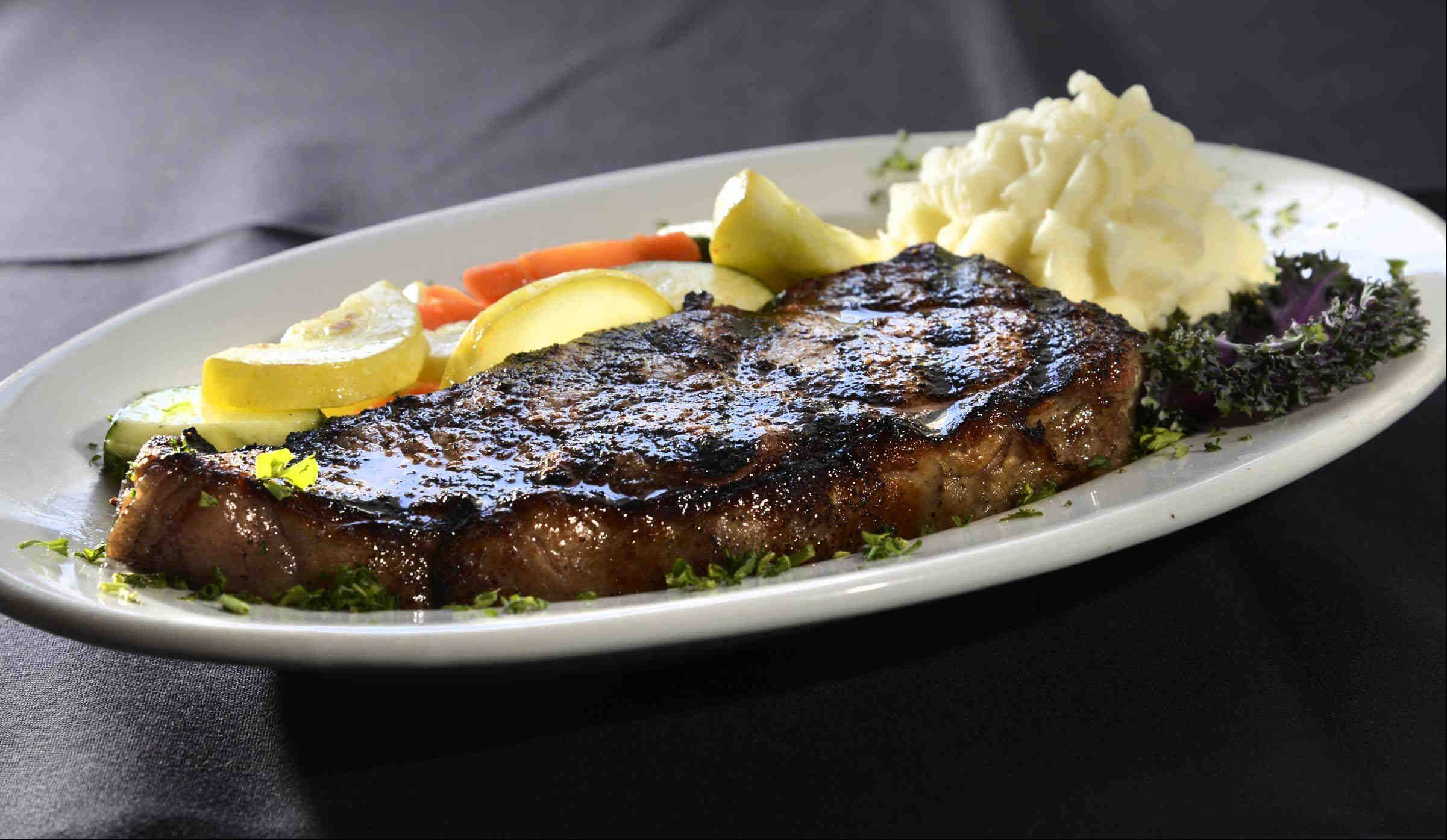 The New York Strip steak with mashed potatoes and vegetable medley at Pier 99 in Port Barrington.