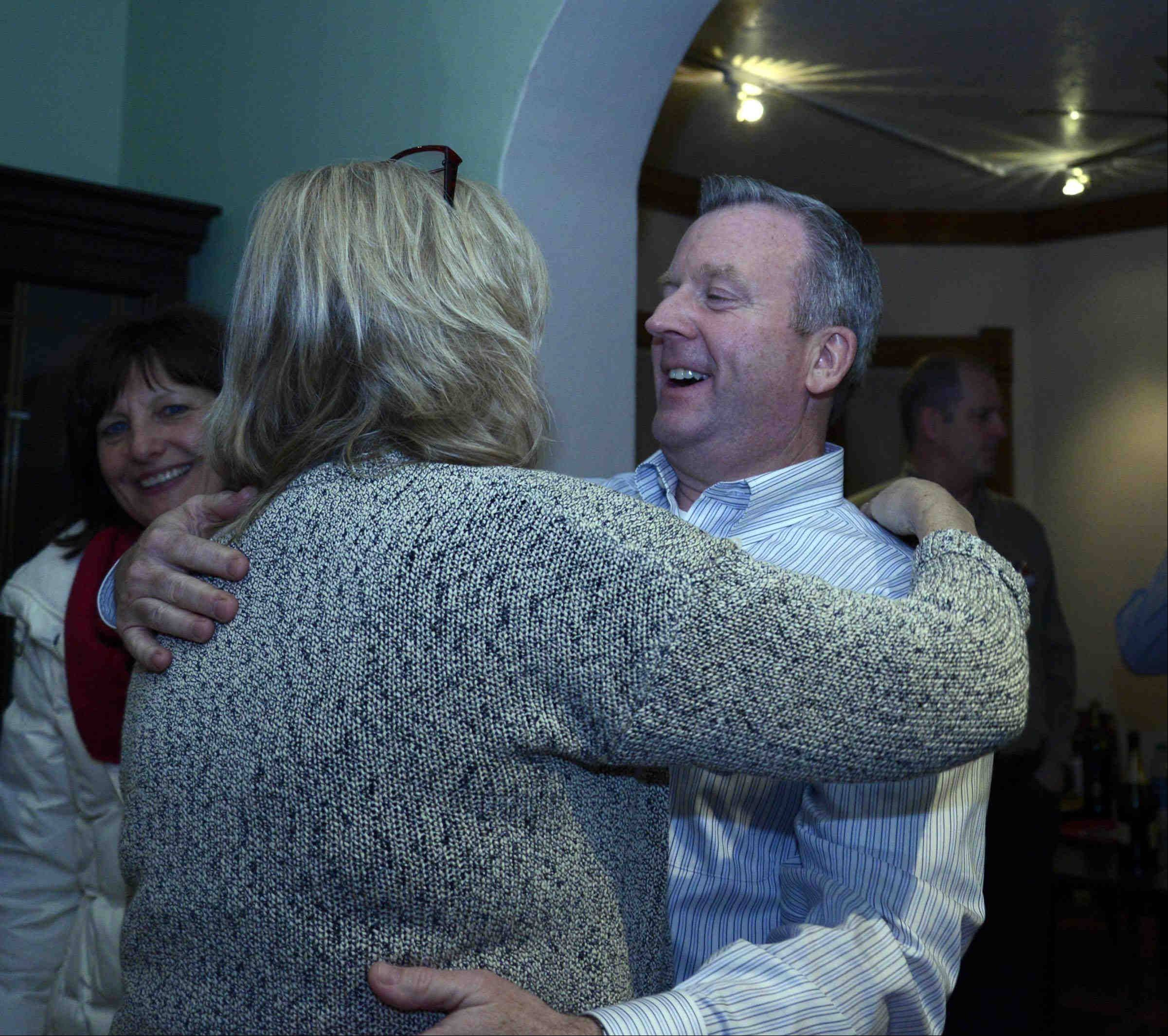 New Cary Village President Mark Kownick celebrates at his election night party in downtown Cary.