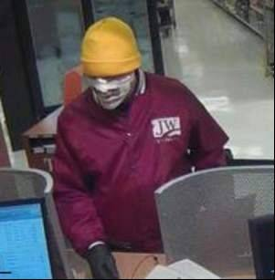 "The so-called ""Mummy Bandit"" robs a TCF Bank branch at at 4250 N. Lincoln Ave. on April 7."