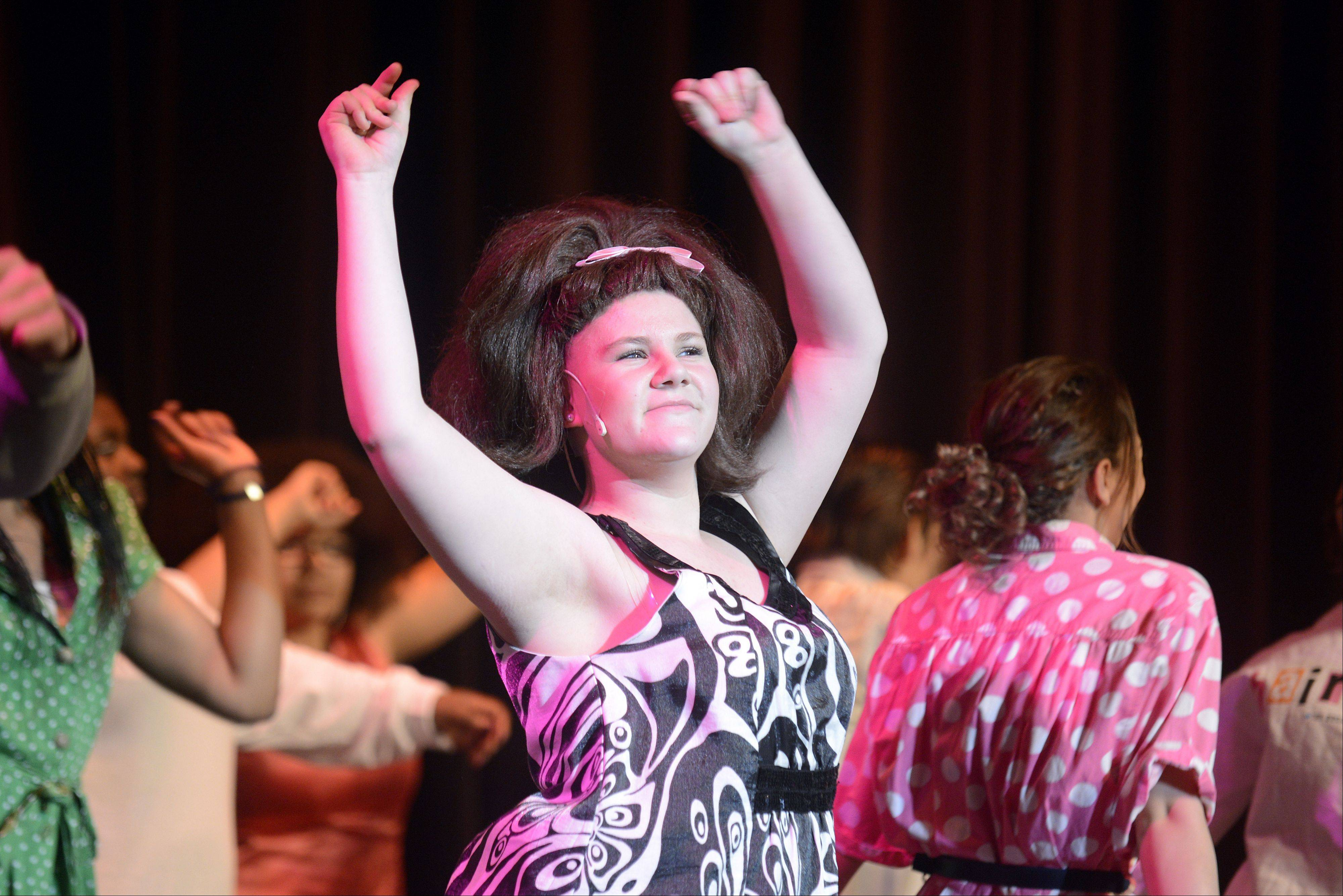 "Junior Katie Burke portrays Tracy Turnblad in Larkin High School's production of the musical ""Hairspray."""