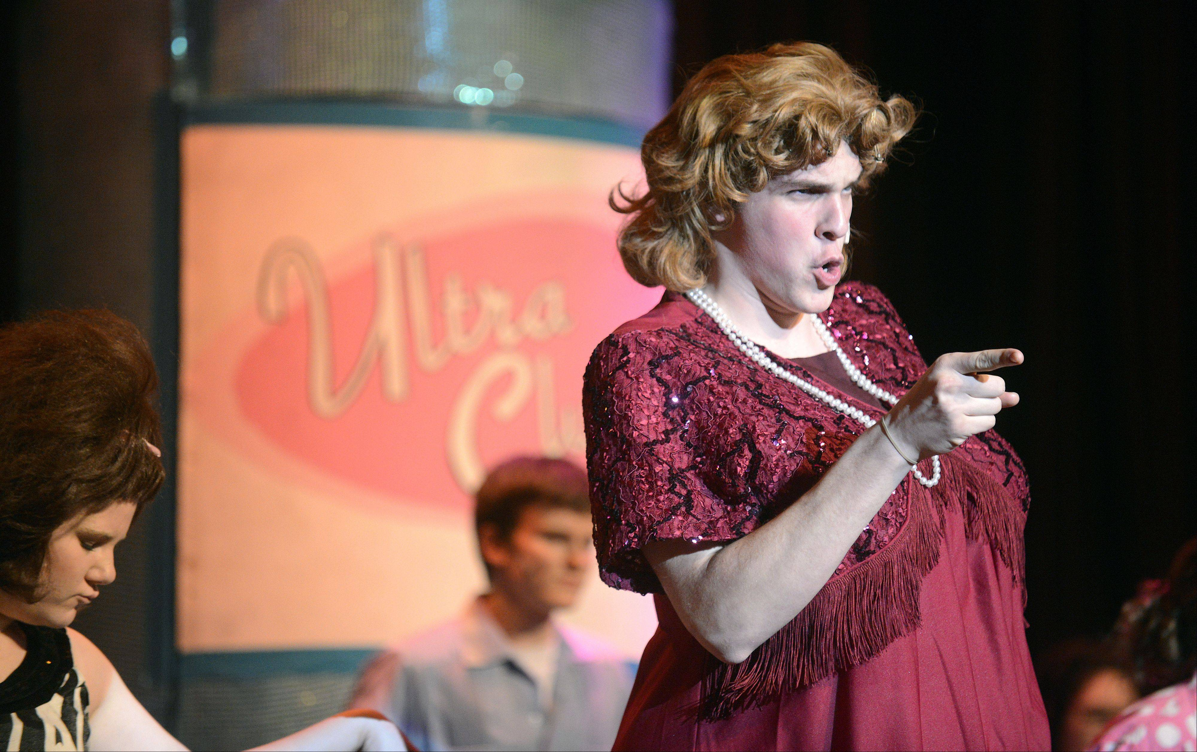 "Sophomore Victor Vyleta portrays Edna Turnblad in Larkin High School's production of the musical ""Hairspray."""