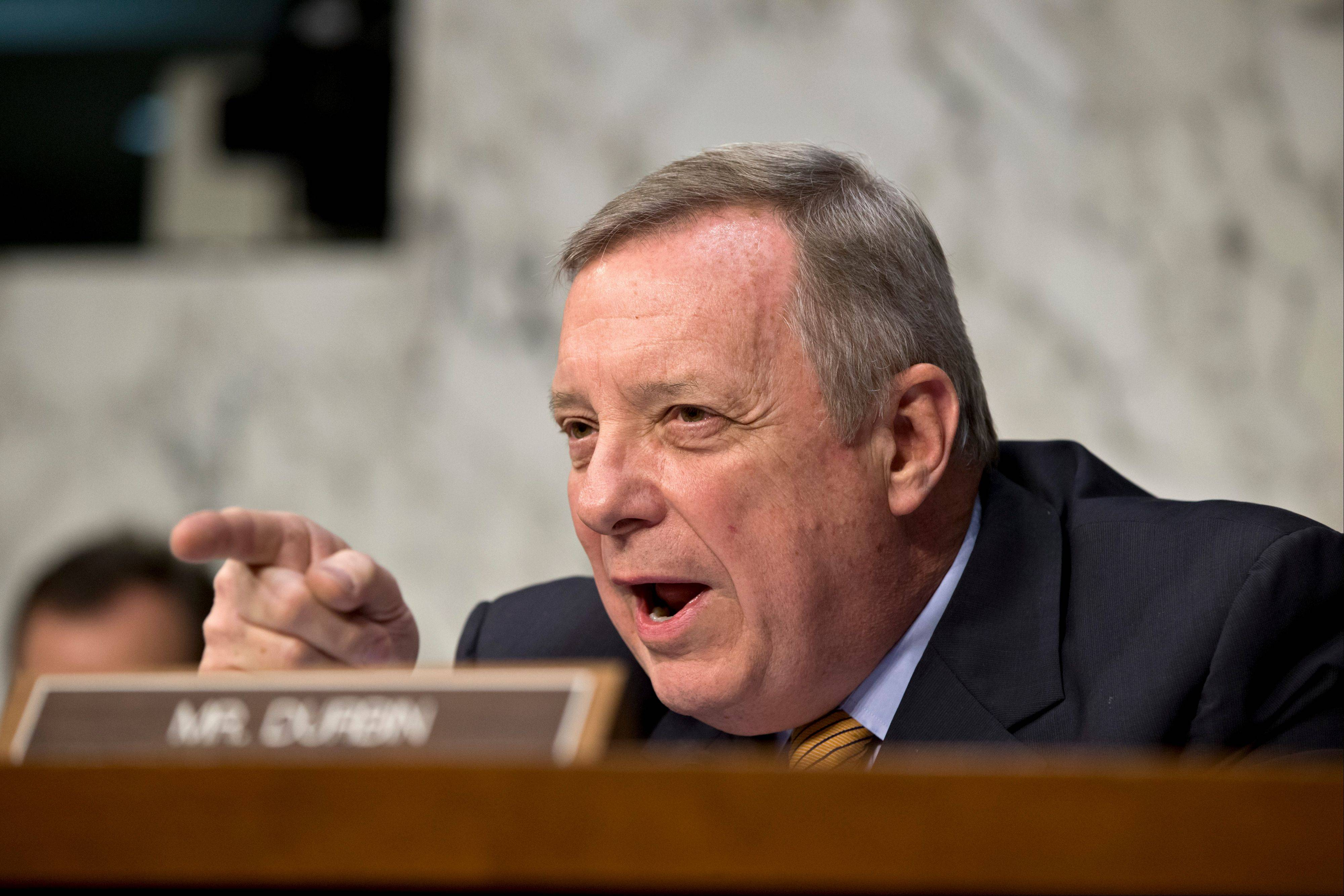 Illinois Sen. Dick Durbin is pushing for higher wages and trying to crack down on companies that use H-1B visas to train workers in the U.S., then send them back overseas. Aides worked into the evening Monday April 8, 2013 on the high-tech visa issue, and senators were to resume meeting in person Tuesday after returning to Washington from a two-week spring recess.