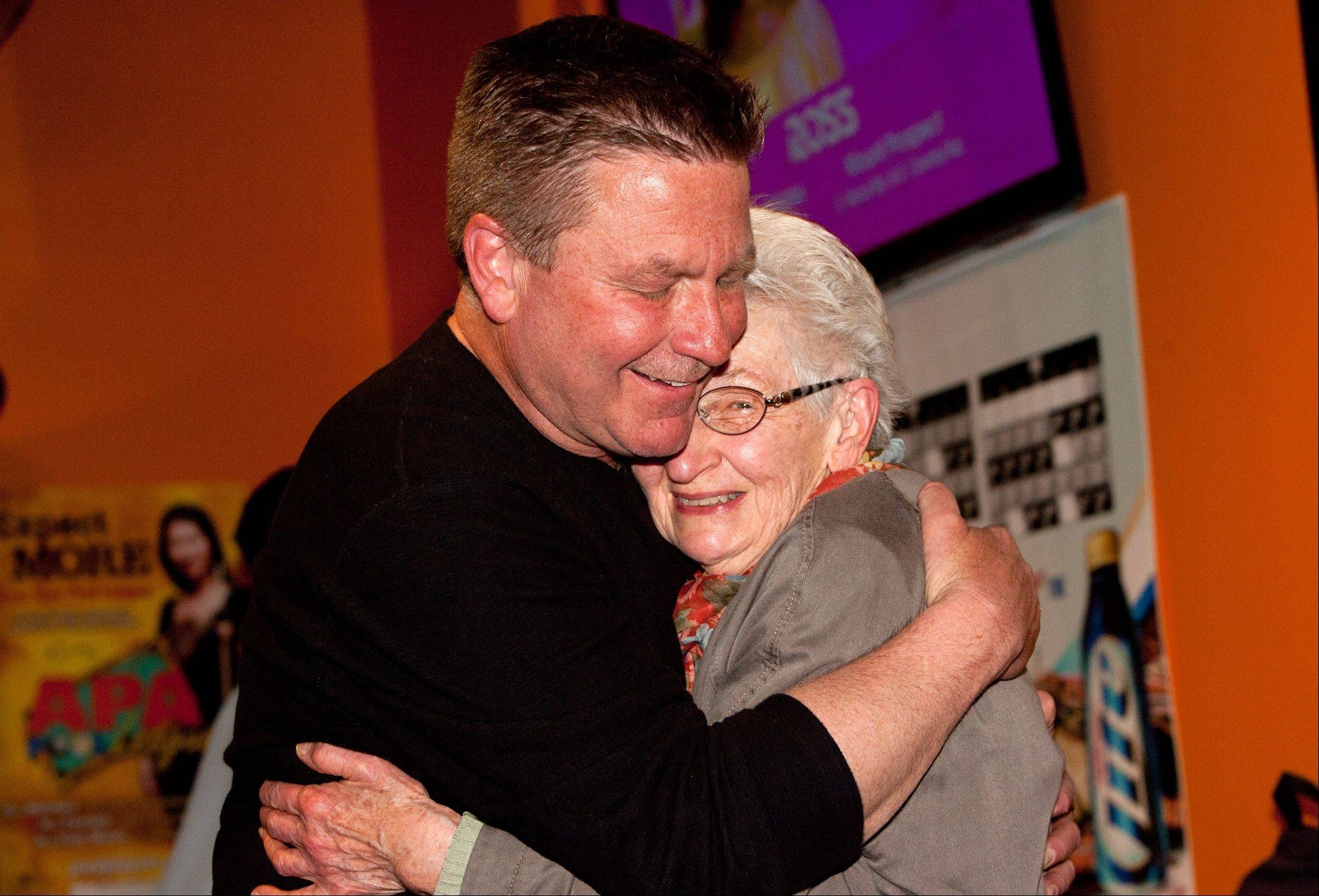 The new Lombard Mayor Keith Giagnorio celebrates his victory with his mother Viola at Overtime Bar and Grill.