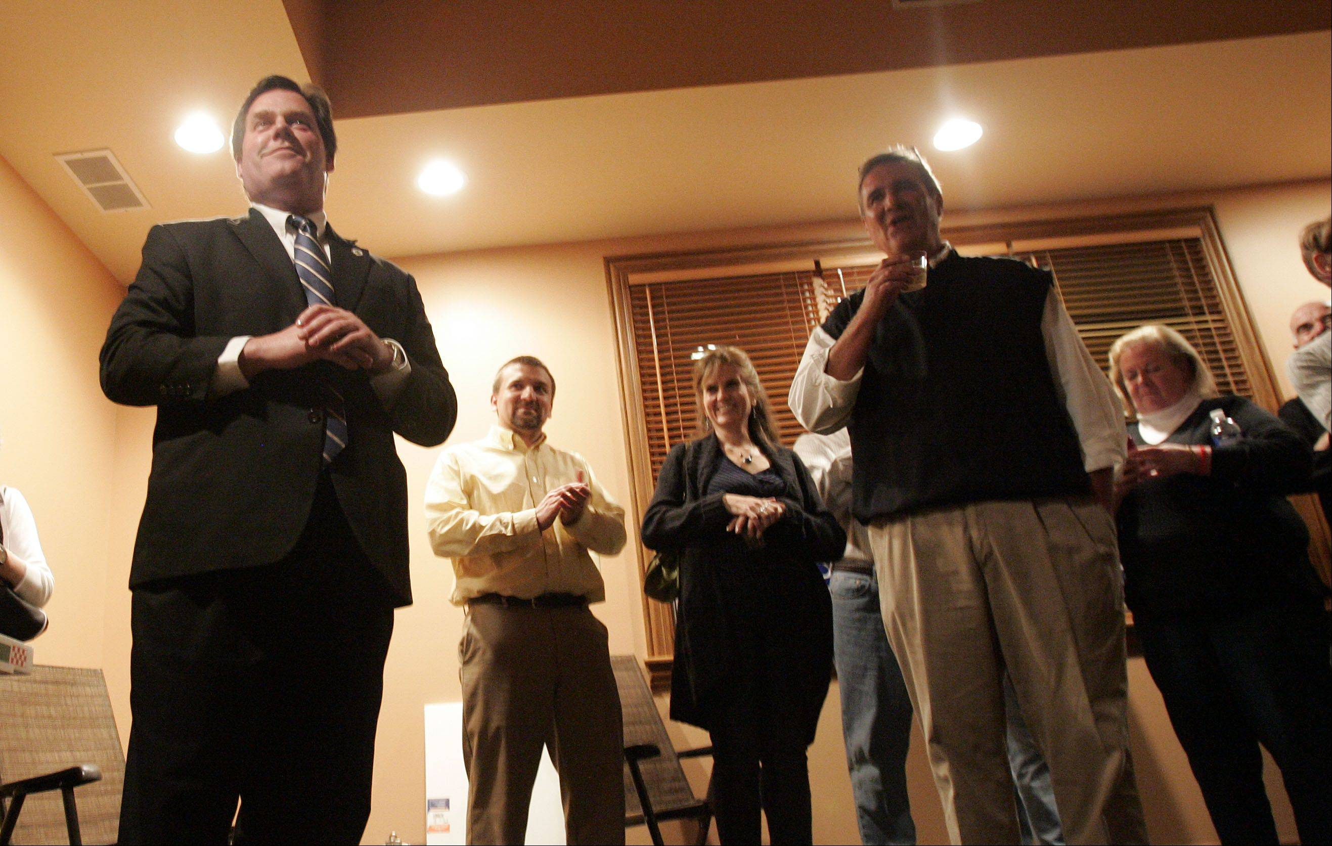 Geneva mayor Kevin Burns offers his acceptance speech.