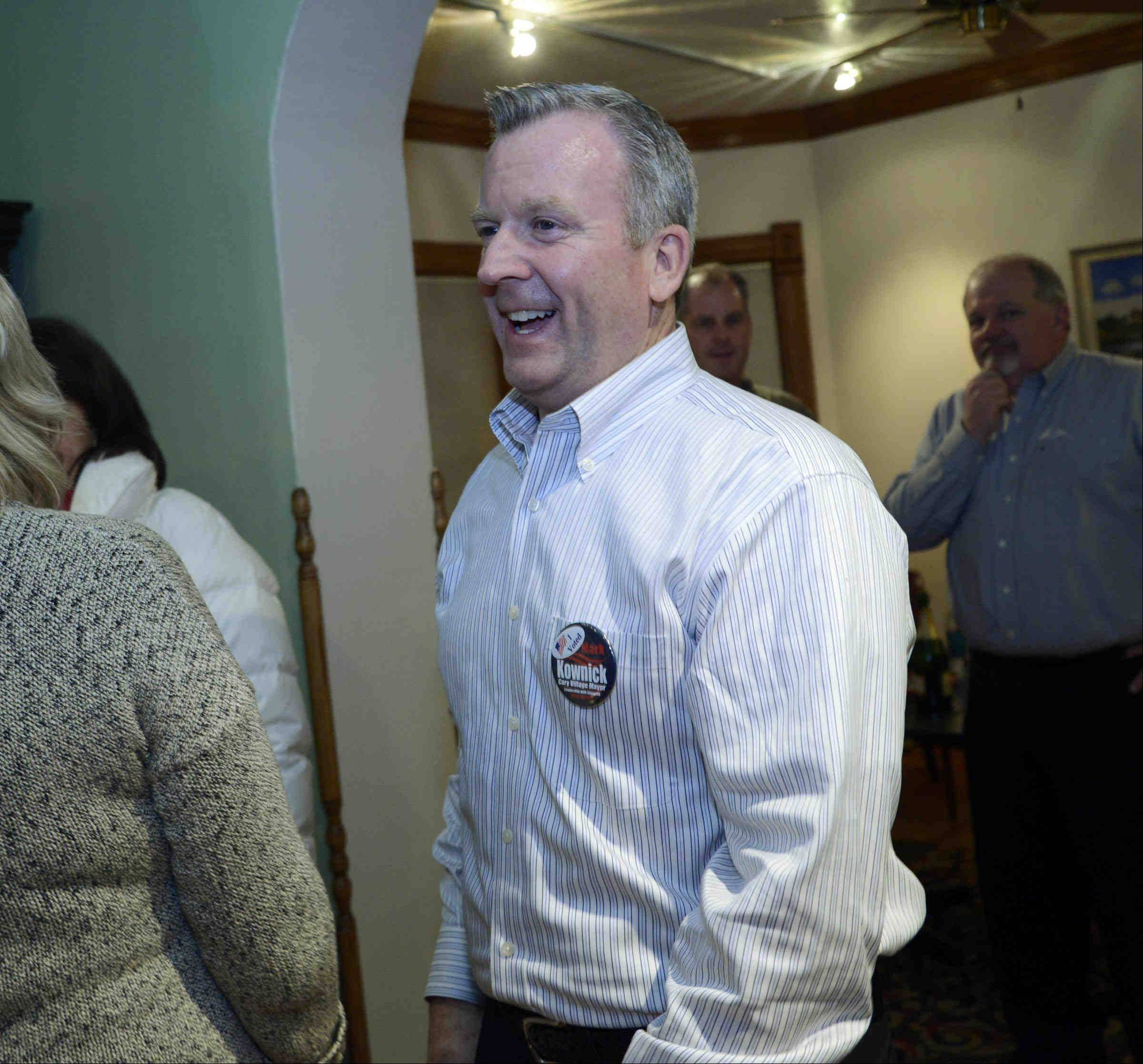 New Cary Village President Mark Kownick at his election night party in downtown Cary.