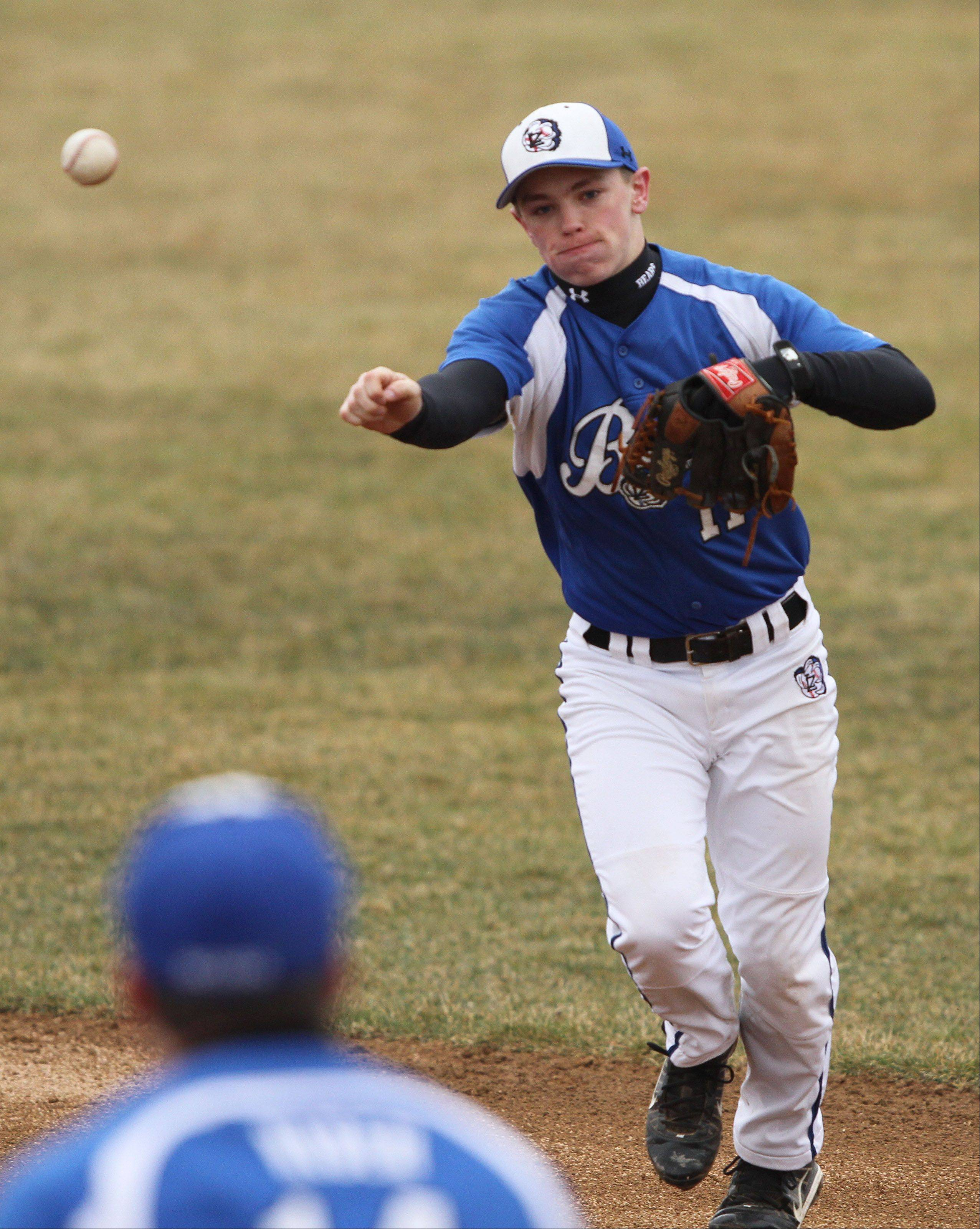Lake Zurich's Danny Neises throws to first baseman Tanner Kiser on Tuesday at Mundelein High School.