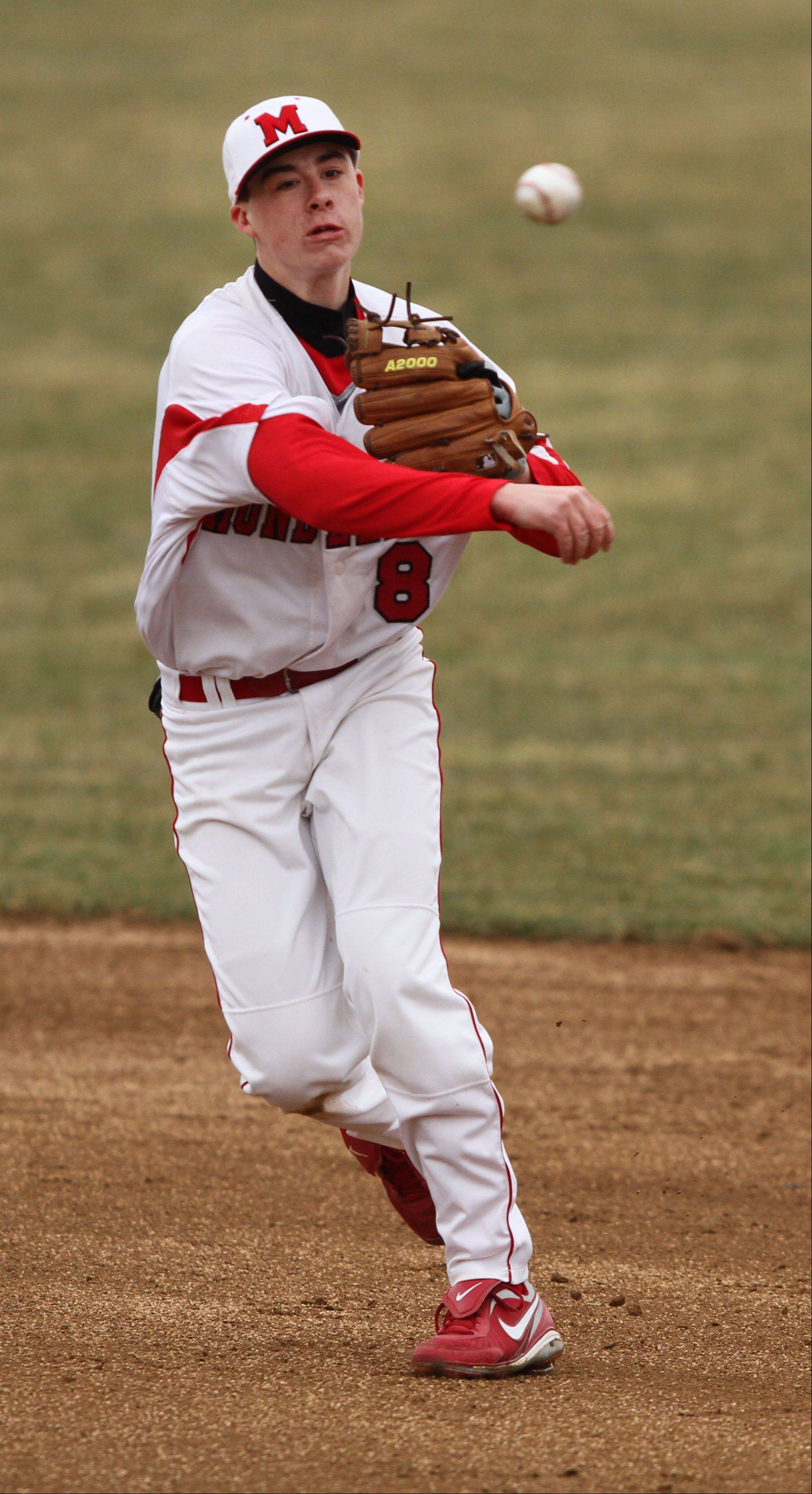 Mundelein's Derek Parola throws to first base against Lake Zurich on Tuesday at Mundelein High School.