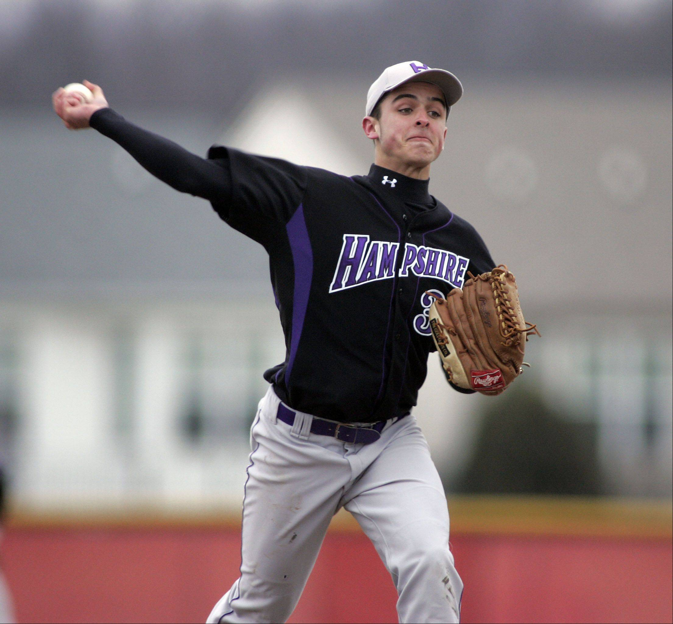 Hampshire's Michael Dumoulin delivers a pitch during Hampshire at Huntley baseball Tuesday.