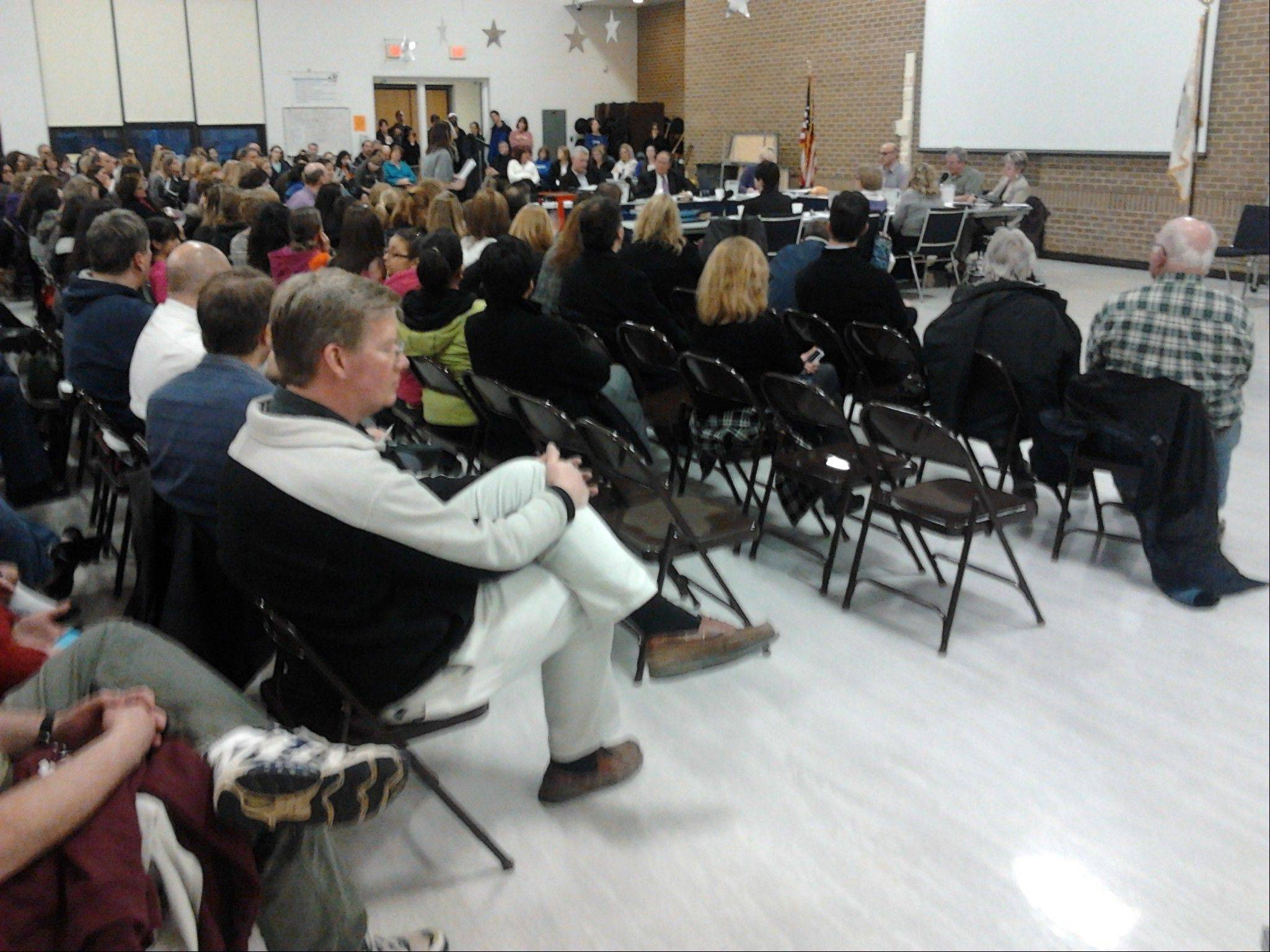 About 250 parents, students and teachers attended Wednesday night's Grayslake Elementary District 46 meeting about concerns over proposed cuts such as art and music programs.