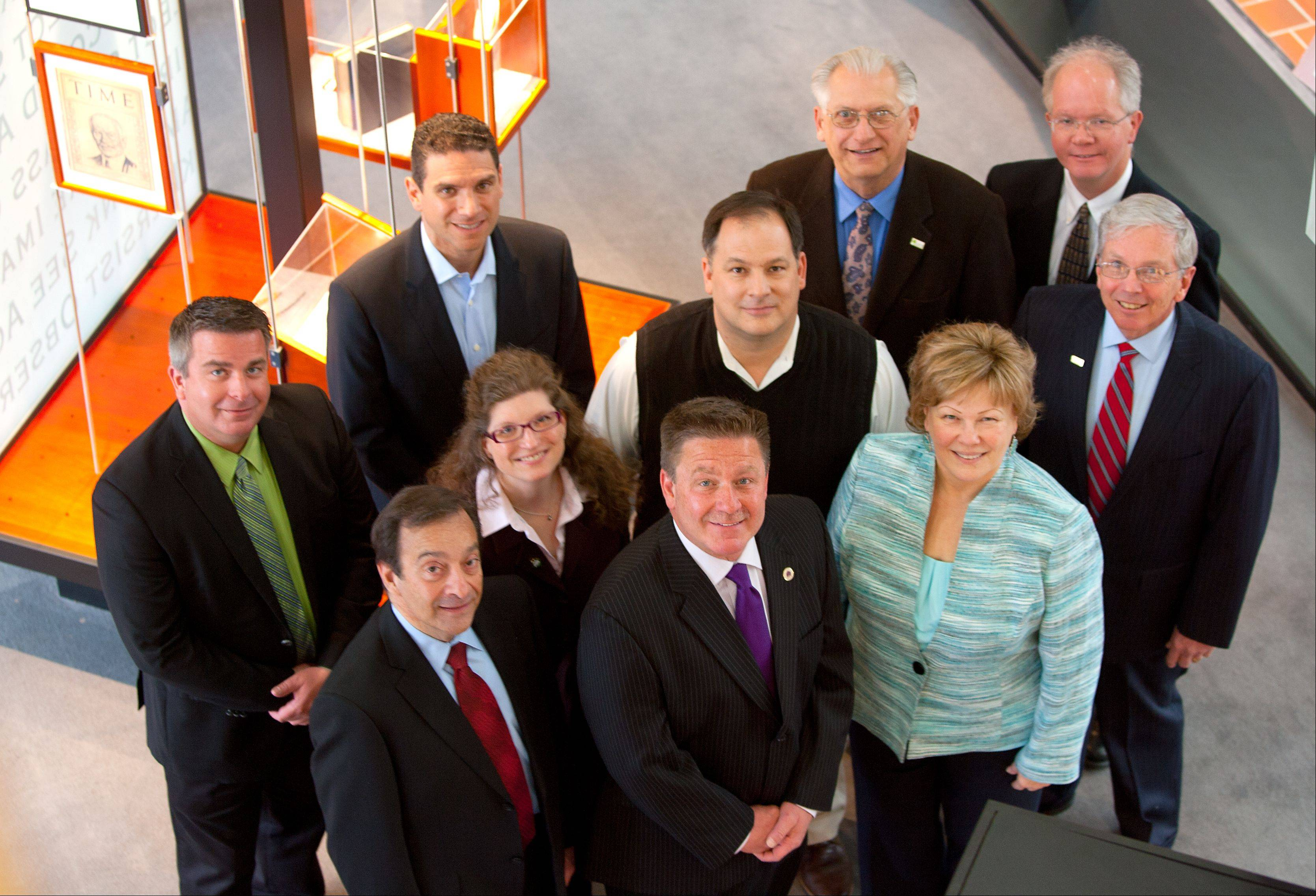 Newly elected mayors and village presidents from DuPage County gathered Wednesday at the DuPage County administration building in Wheaton. First row from left: Rich Veenstra of Addison, Keith Giagnorio of Lombard and Gayle Smolinski of Roselle. Second row: Deborah Bullwinkel of Villa Park, Alex Demos of Glen Ellyn and David Brummel of Warrenville. Third row: Frank Soto of Bensenville, Franco Coladipietro of Bloomingdale, Joe Broda of Lisle and Erik Spande of Winfield.