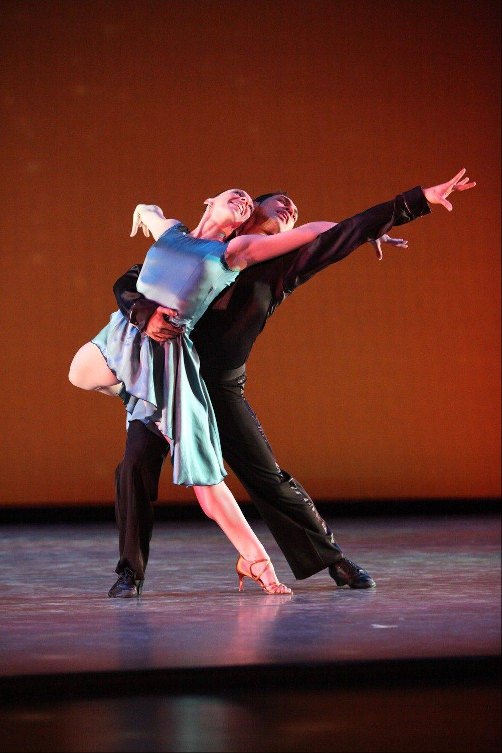 "Meaghan McHale and Cesar Salinas in Del Dominguez's Latin ballroom dance work ""Sabroso,"" which is part of Giordano Dance Chicago's engagement at North Central College's Pfeiffer Hall in Naperville."