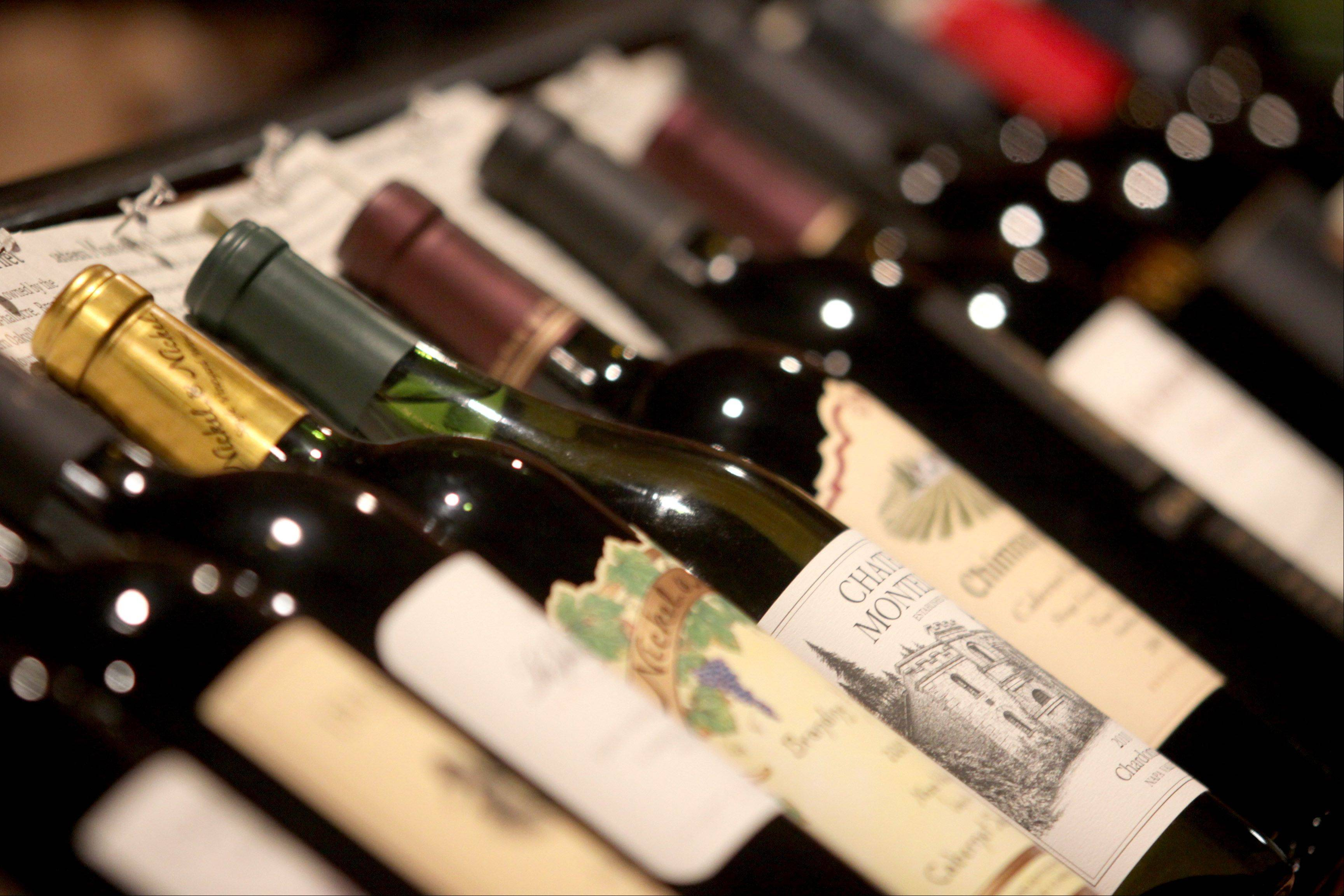A large selection of wine awaits patrons at the Tuscan Market Wine Bar.