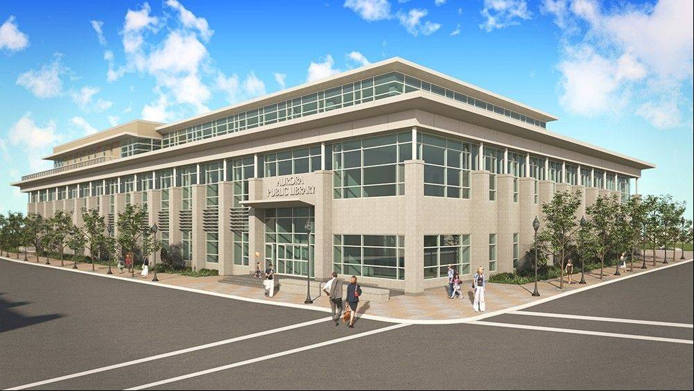 A groundbreaking for the new main library to be built at the southwest corner of River and Benton streets in downtown Aurora will be held May 1.