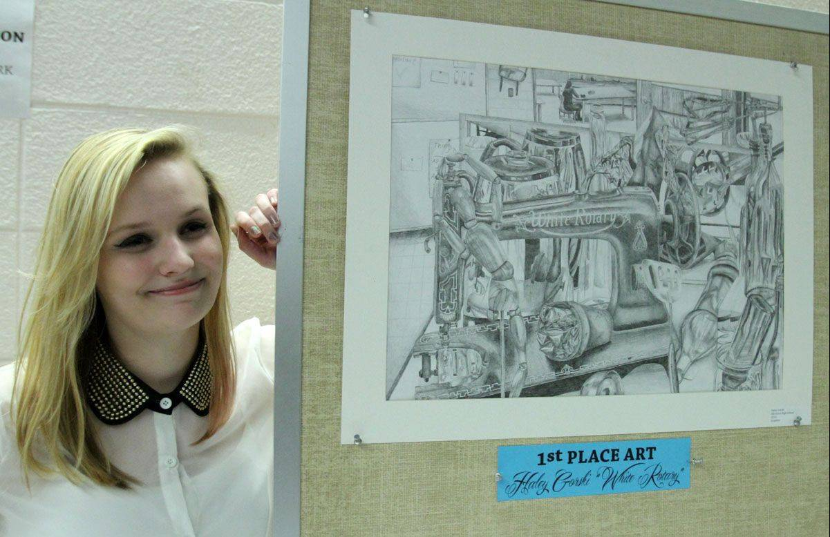 "Haley Gorski, senior at Elk Grove High School, placed first in visual arts for ""White Rotary"" at an arts reception Wednesday at Forest View Educational Center in Arlington Heights."