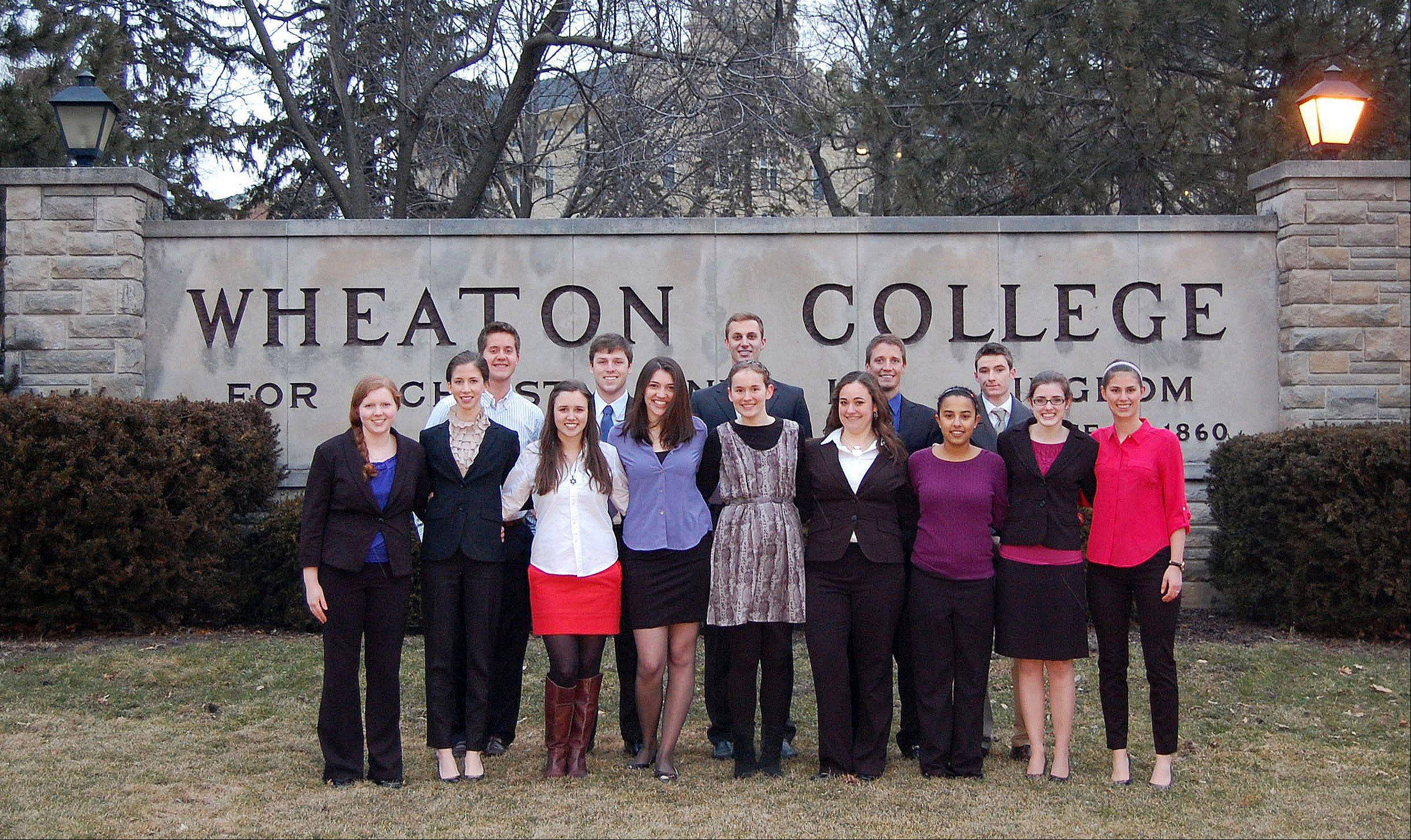 The Wheaton College Mock Trial Team is, front row, from left: Anne Davidson, Annie Chestnut, Lindsey Gevry, Kelly Farley, Margaret Winchell, Lauren Carini, Jasmine Stein, Abigail Canfield and Elizabeth Schriver. Back row, from left: Jason Chapman, Dylan Andres, McNair Nichols, Trenton Van Oss and Stephen Quillen.