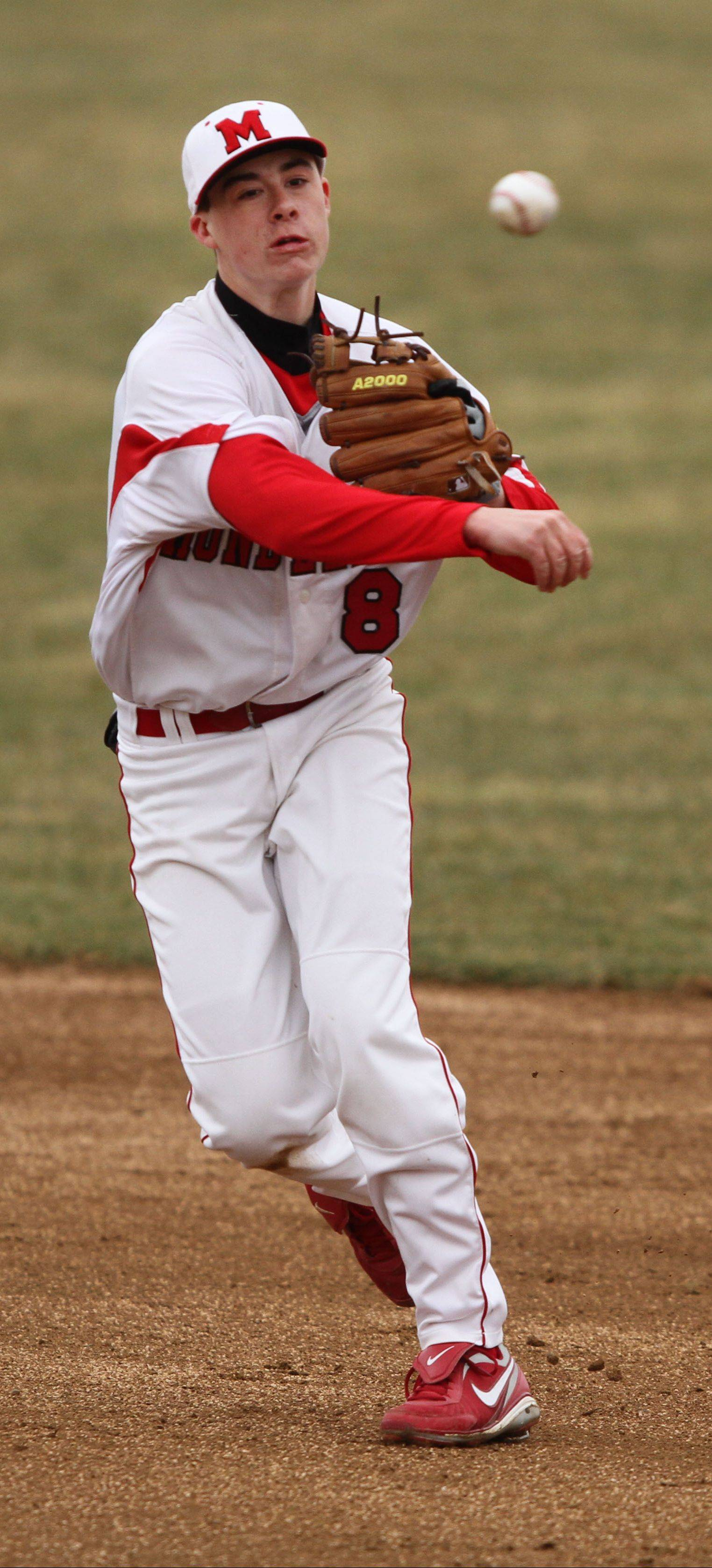 Mundelein's Derek Parola throws to first Tuesday against Lake Zurich at Mundelein.