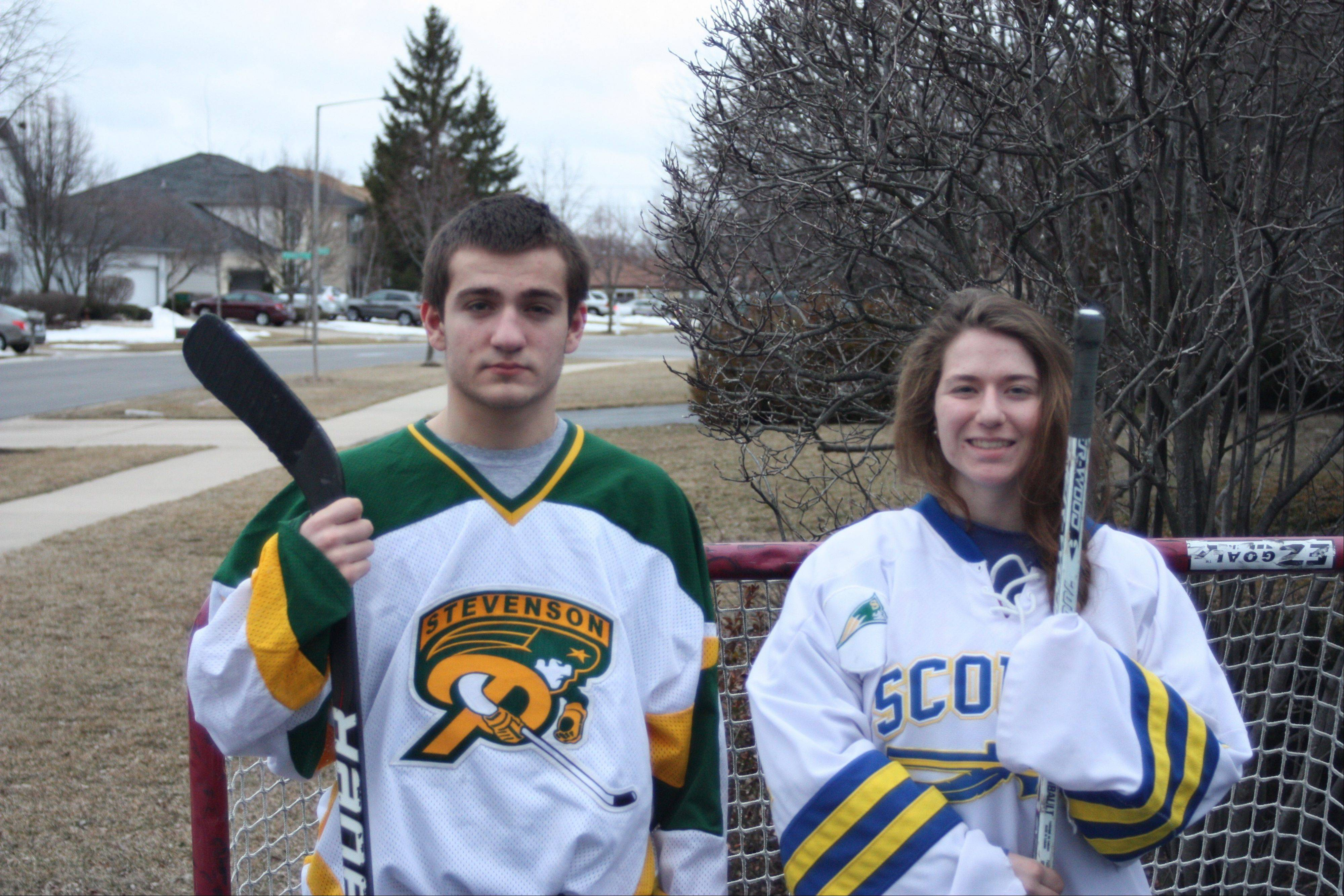 Stevenson siblings Jared and Lindsay Projanky had outstanding hockey seasons. Jared scored a team-best 26 goals for Stevenson, while Lindsay backstopped the co-op Lake Forest squad to a state championship.