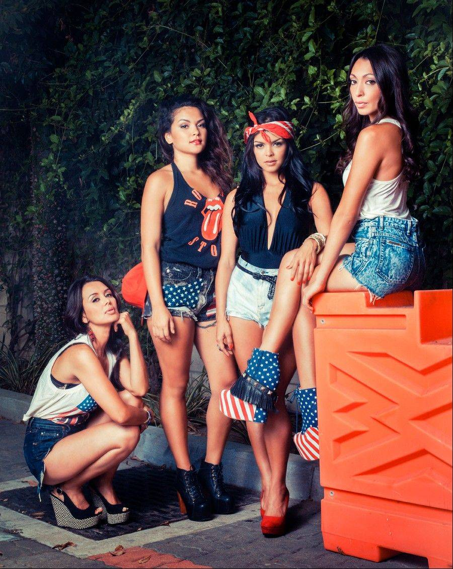 Jamie Hernandez, left, Presley Hernandez, Tahiti Hernandez and Tiara Hernandez, sisters of entertainer Bruno Mars, will star in a reality series on WEtv documenting the recording process of their debut album.