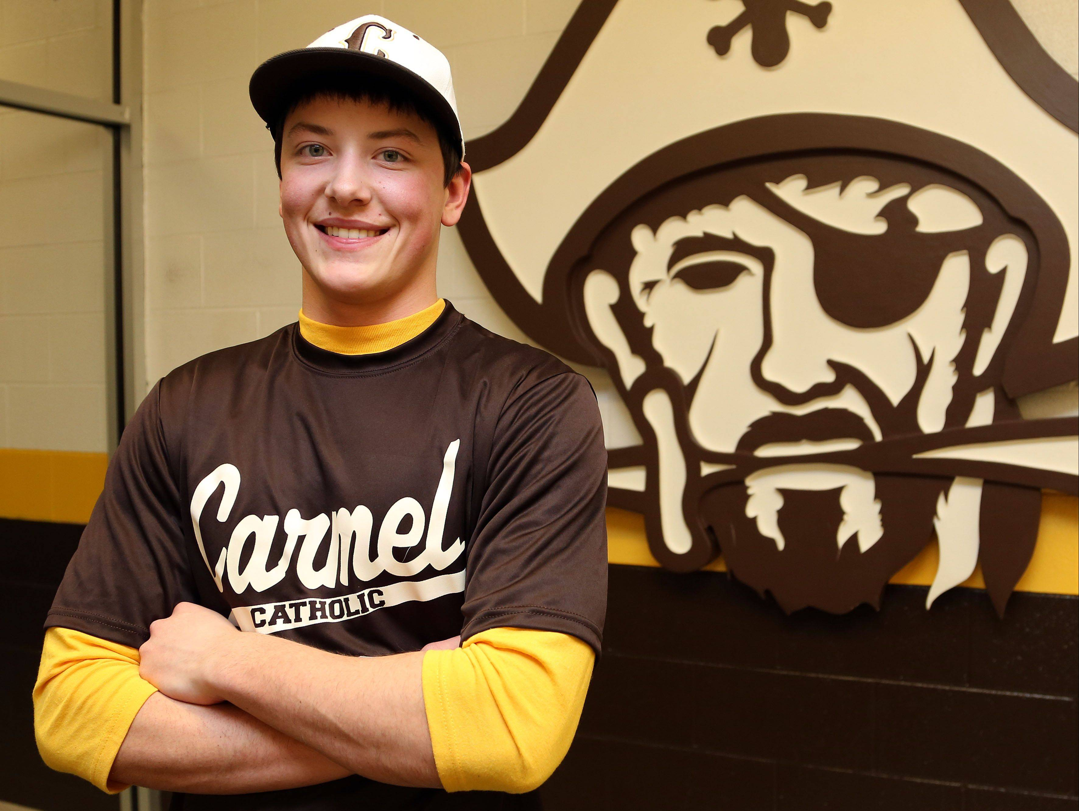 Carmel's Matt Schafer blew out his knee two days before tryouts started, spoiling his senior season. But he's proving to be an inspiration as the team's manager this spring.
