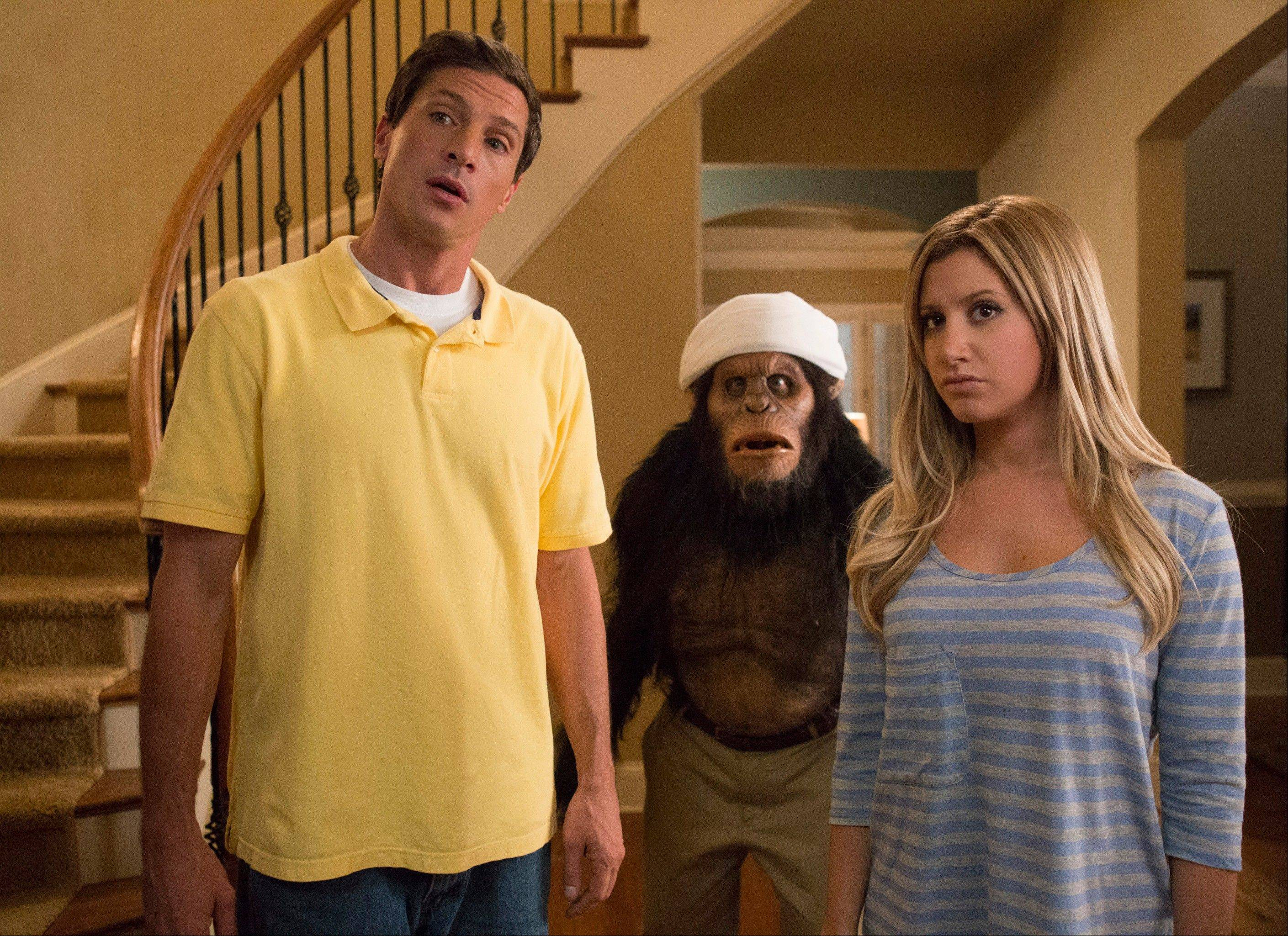 "Simon Rex, left, and Ashley Tisdale can't save the frightenly unfunny ""Scary Movie 5,"" which sends up ""Rise of the Planet of the Apes"" and other films."