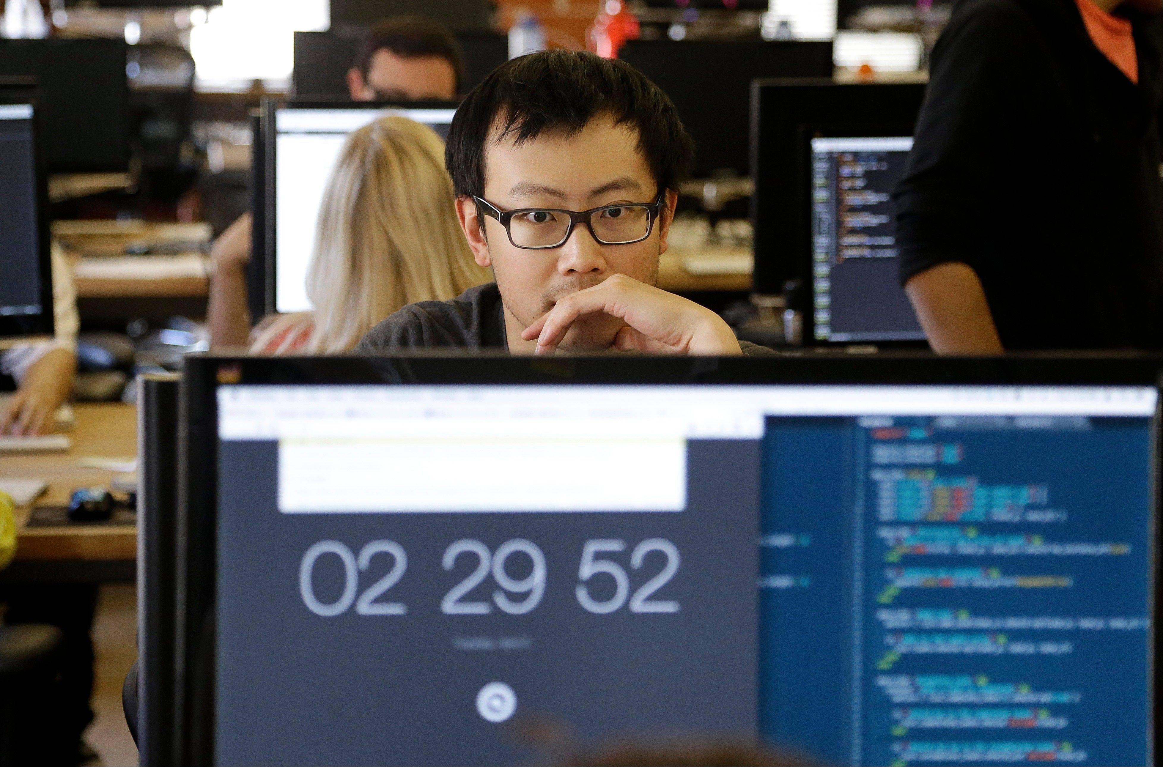 Student David Wen works during a class at Dev Bootcamp in San Francisco.