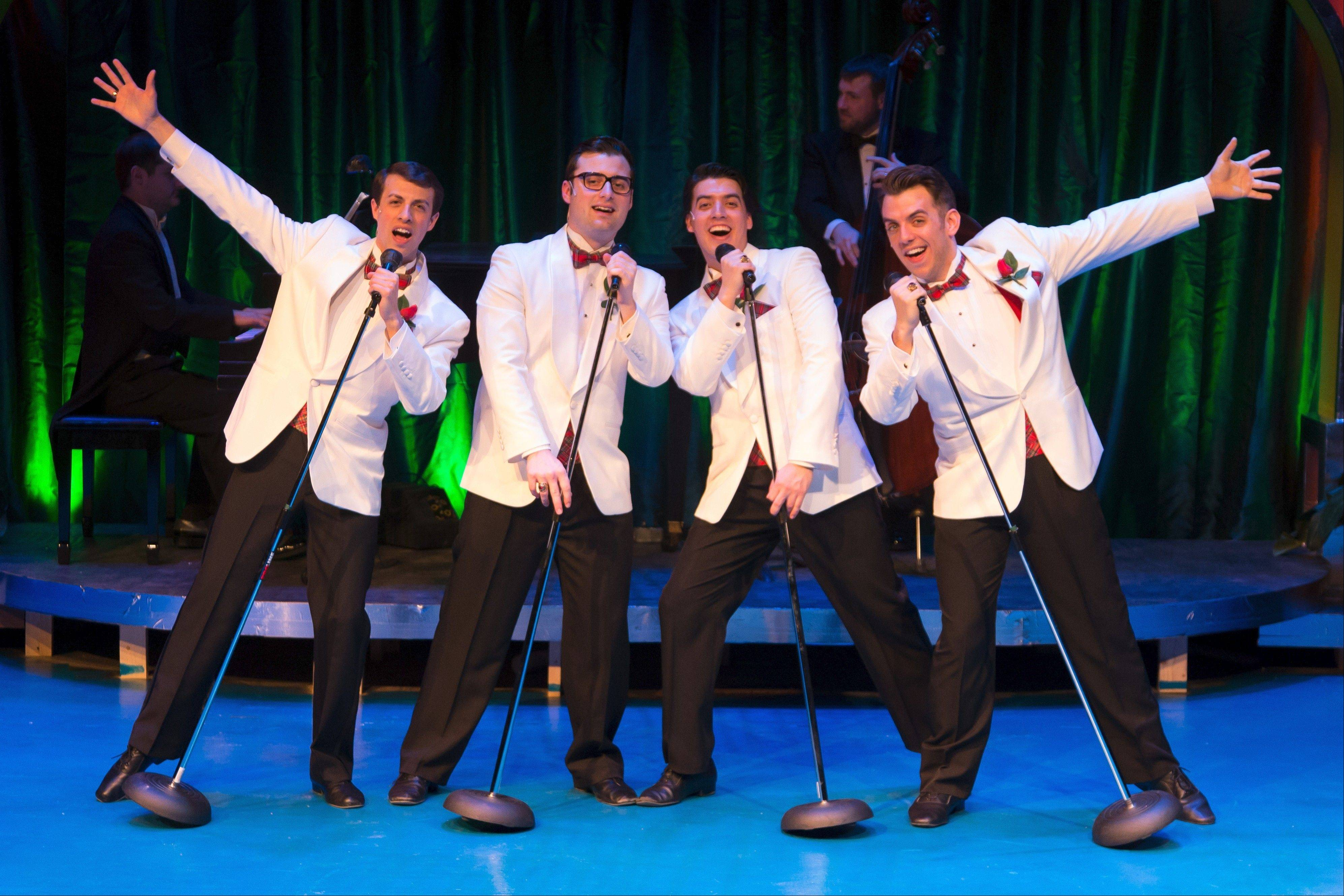 "Jinx (Ryan Naimy), Smudge (Rob Riddle), Francis (Andres Enriquez) and Sparky (Robert Deason) harmonize in Fox Valley Repertory's production of the off-Broadway musical revue ""Forever Plaid."""