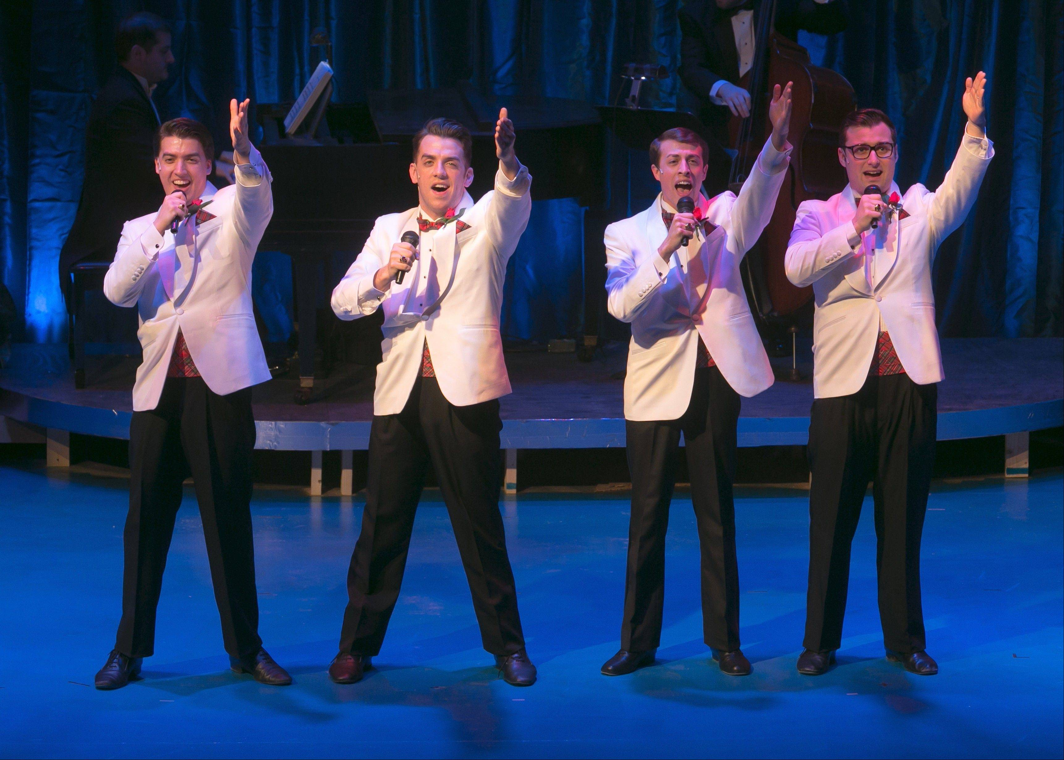 "Francis (Andres Enriquez), Sparky (Robert Deason), Jinx (Ryan Naimy) and Smudge (Rob Riddle) harmonize in Fox Valley Repertory's production of the off-Broadway musical revue ""Forever Plaid."""
